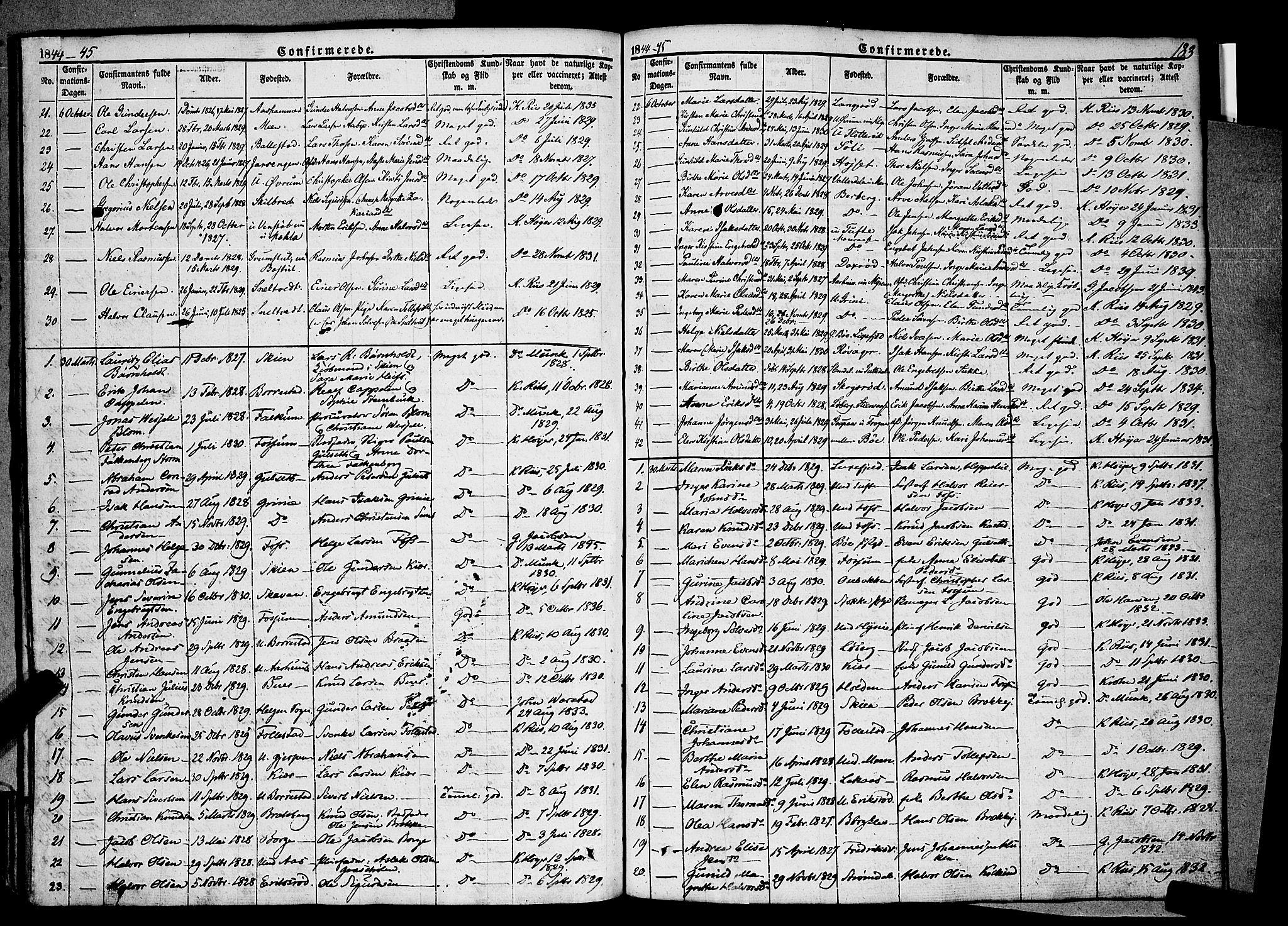 SAKO, Gjerpen kirkebøker, F/Fa/L0007a: Ministerialbok nr. 7A, 1834-1857, s. 183