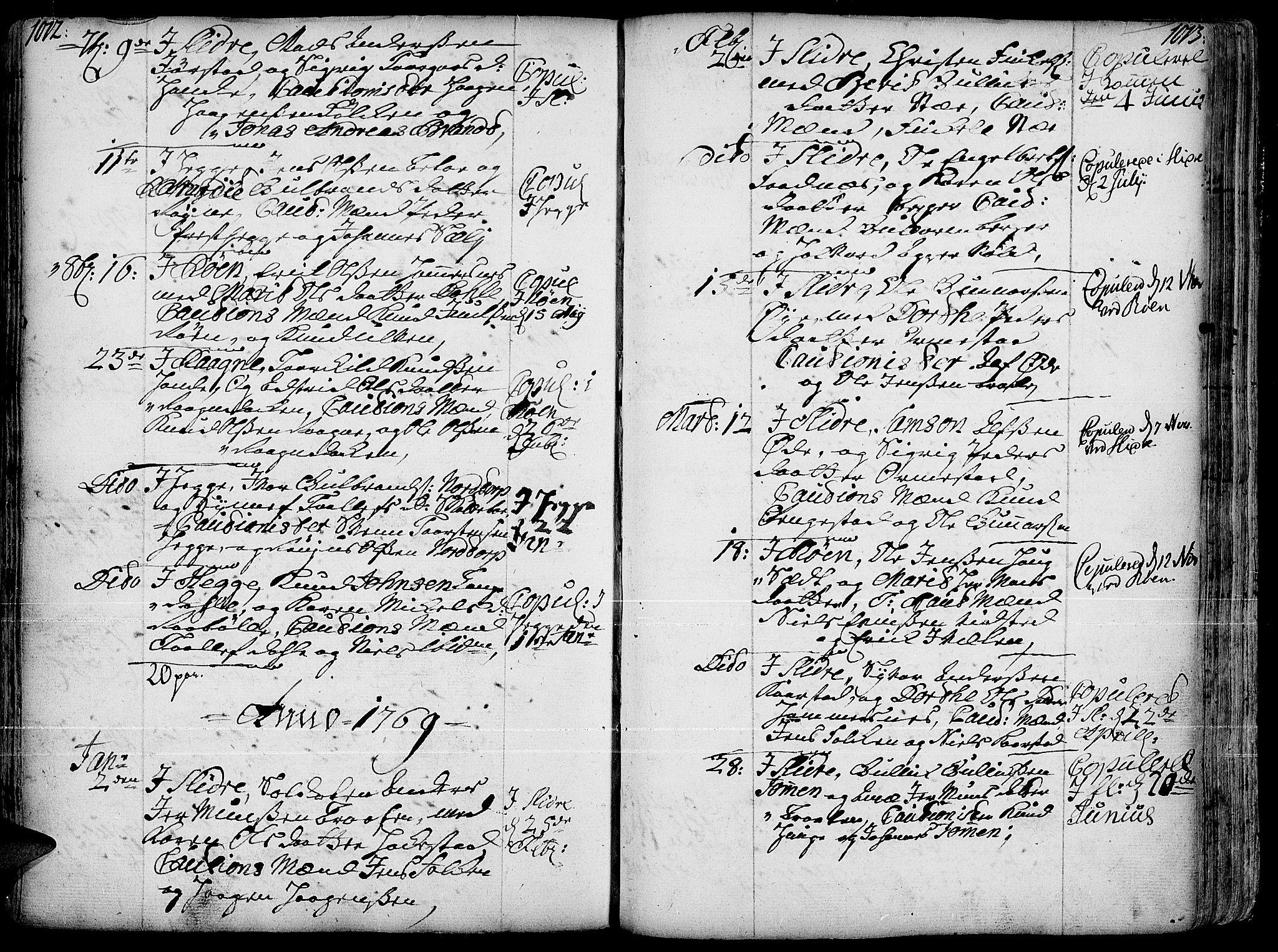 SAH, Slidre prestekontor, Ministerialbok nr. 1, 1724-1814, s. 1012-1013