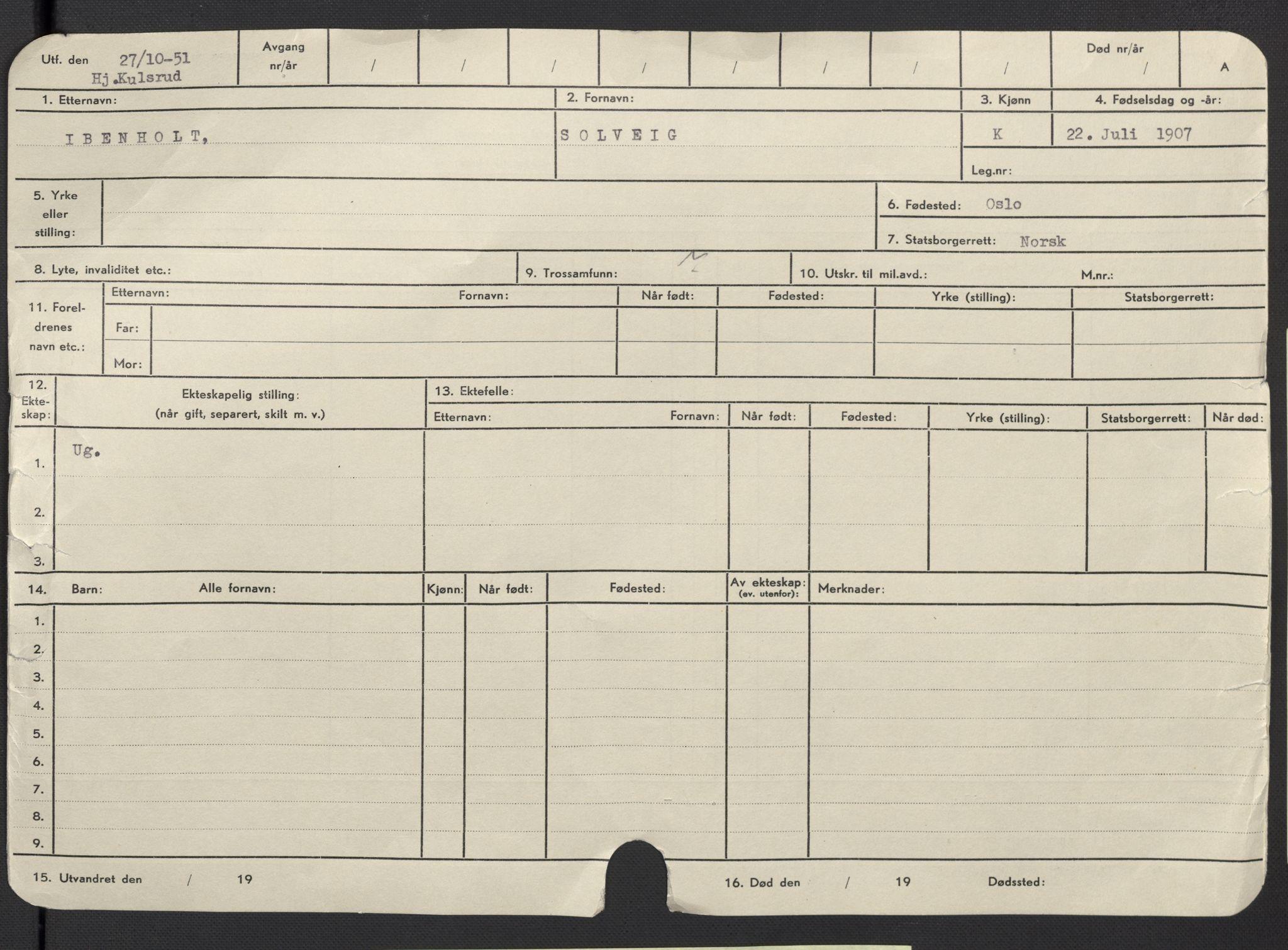 SAO, Oslo folkeregister, Registerkort, F/Fa/Fac/L0017: Kvinner, 1906-1914, s. 1a