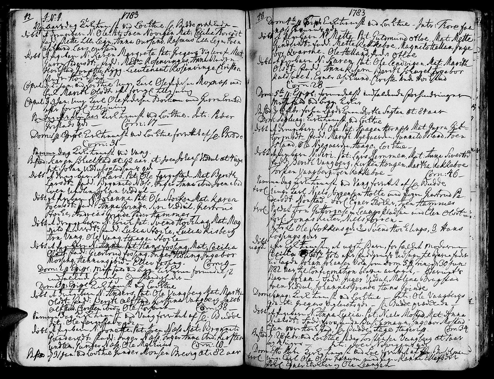 SAT, Ministerialprotokoller, klokkerbøker og fødselsregistre - Nord-Trøndelag, 713/L0110: Ministerialbok nr. 713A02, 1778-1811, s. 42-43