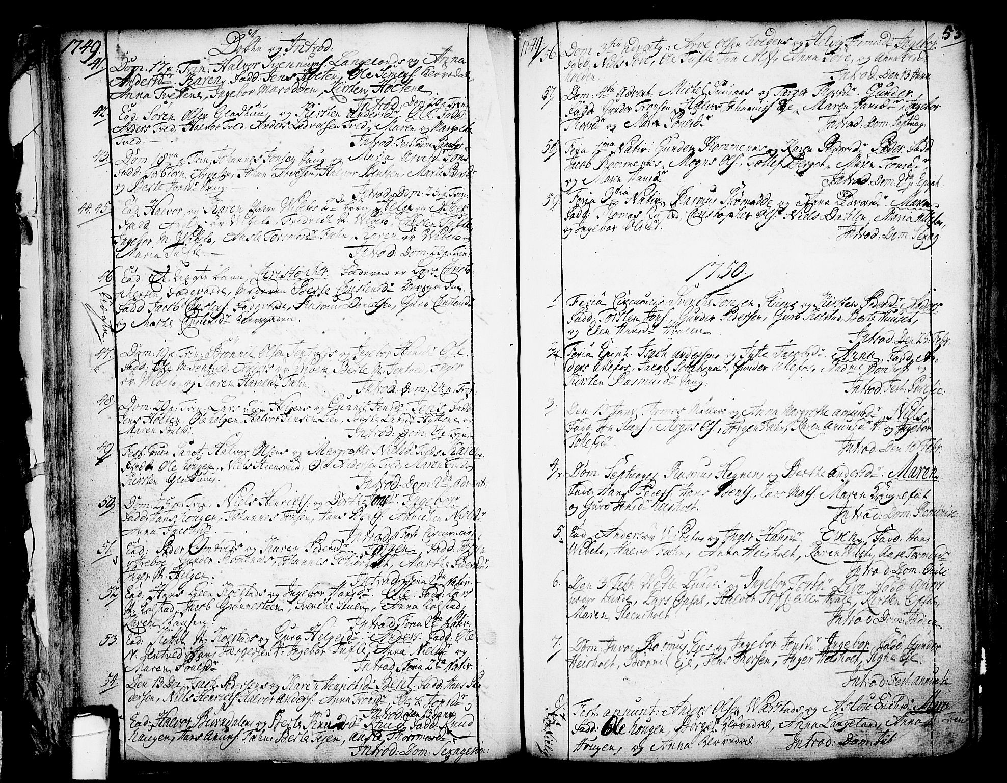SAKO, Holla kirkebøker, F/Fa/L0001: Ministerialbok nr. 1, 1717-1779, s. 53