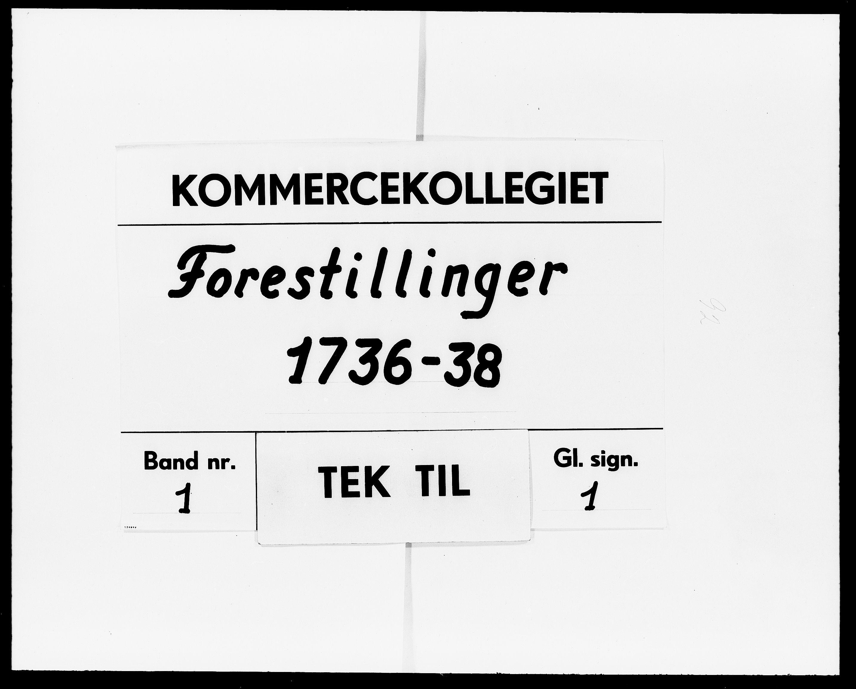 DRA, Kommercekollegiet, Dansk-Norske Sekretariat (1736-1771) / Kommercedeputationen (1771-1773), -/001: Forestillinger, 1736-1738