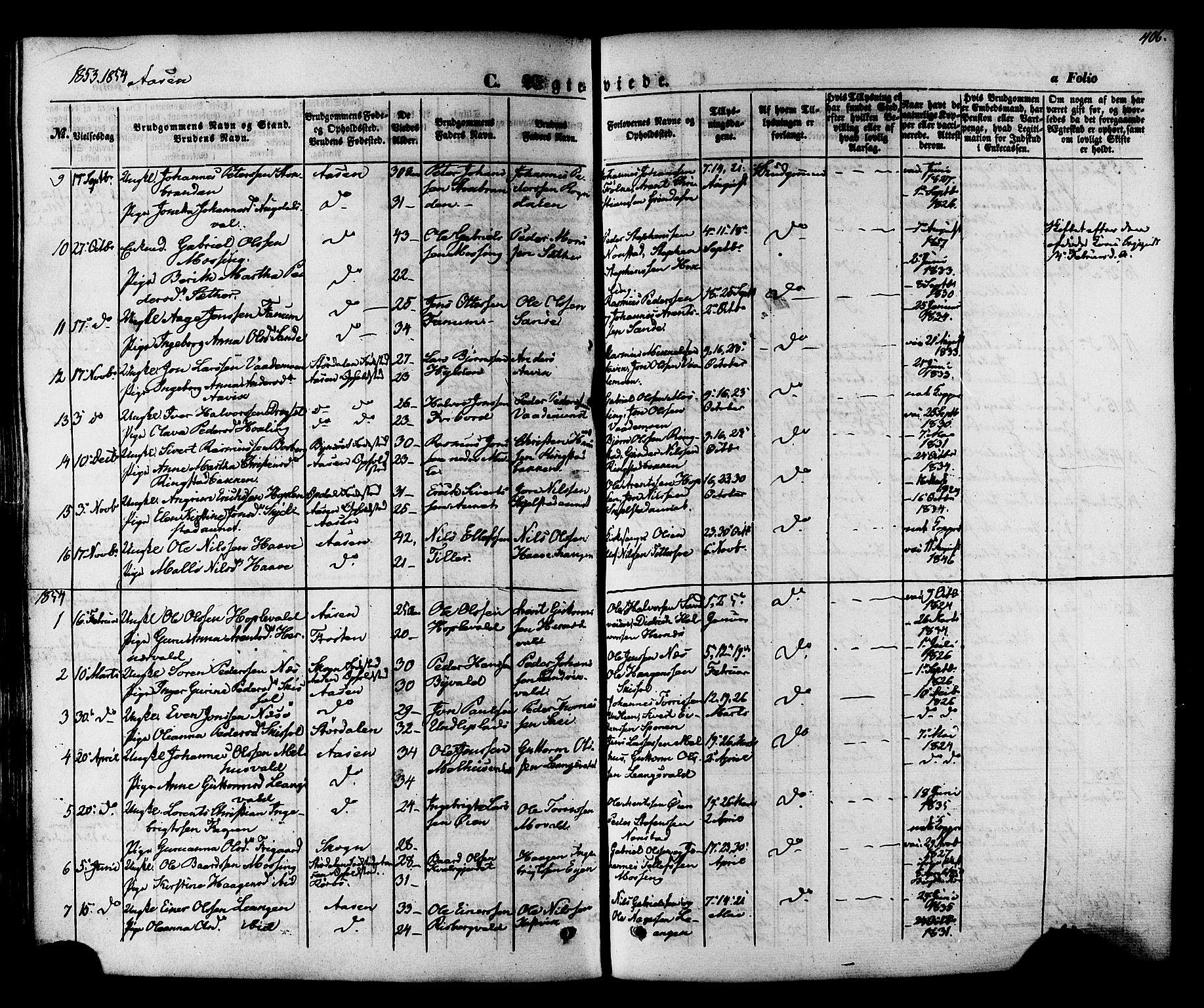SAT, Ministerialprotokoller, klokkerbøker og fødselsregistre - Nord-Trøndelag, 713/L0116: Ministerialbok nr. 713A07, 1850-1877, s. 406