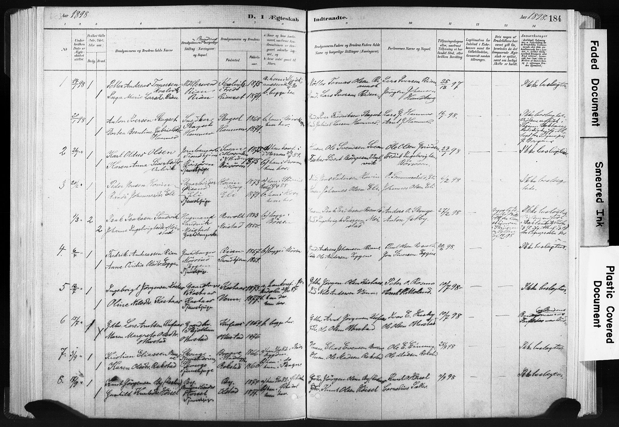 SAT, Ministerialprotokoller, klokkerbøker og fødselsregistre - Sør-Trøndelag, 665/L0773: Ministerialbok nr. 665A08, 1879-1905, s. 184