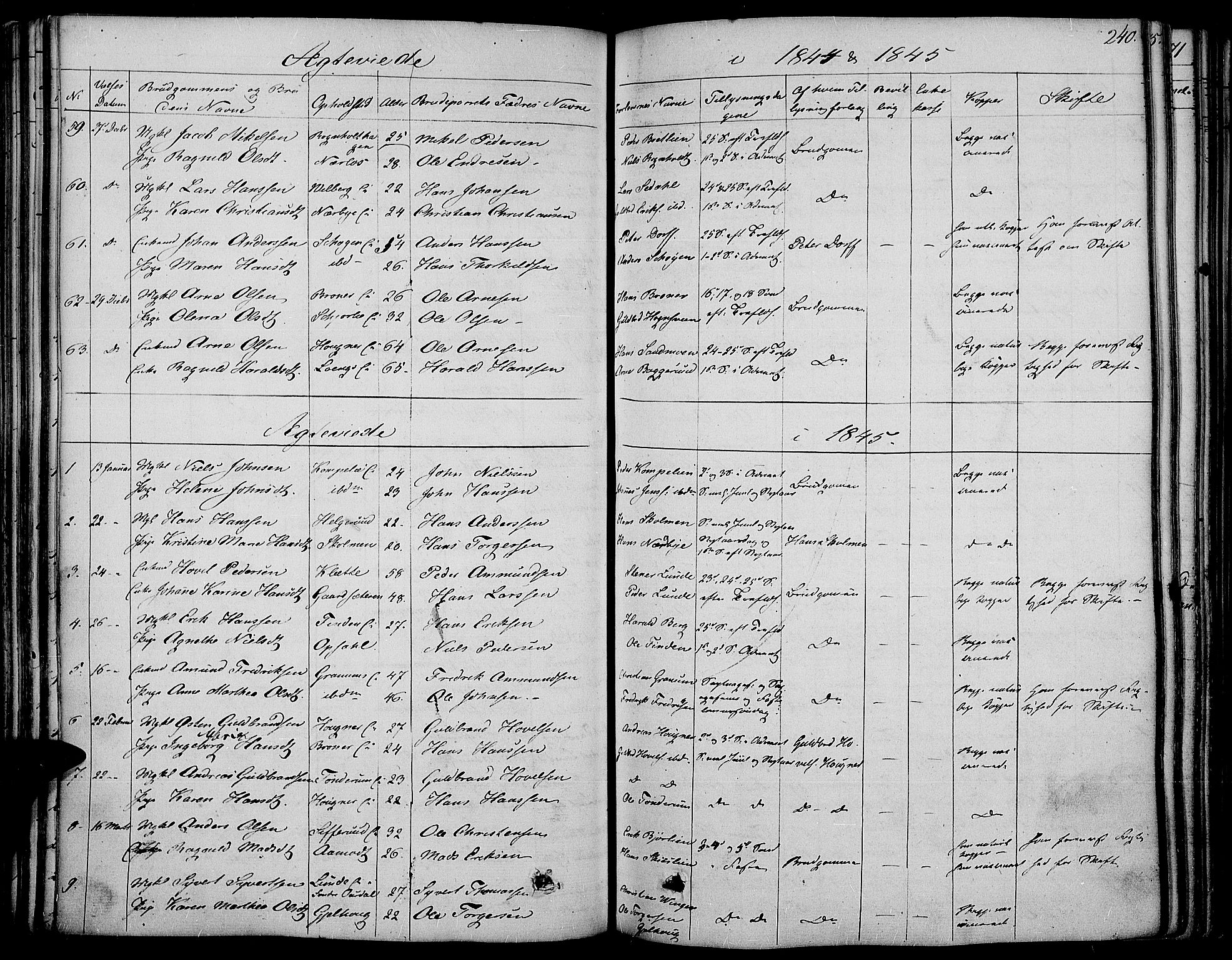 SAH, Land prestekontor, Ministerialbok nr. 8, 1830-1846, s. 240
