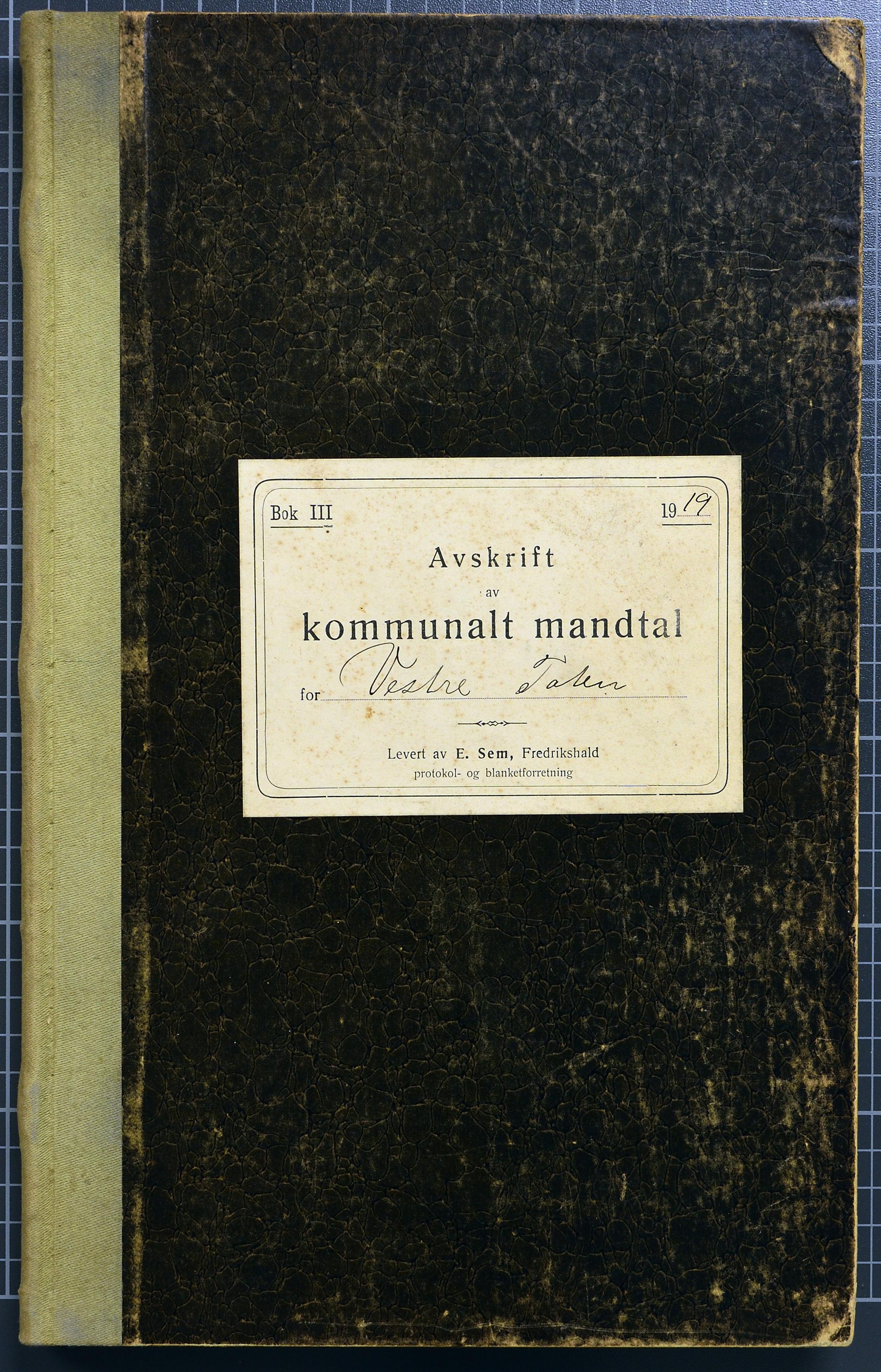 KVT, Vestre Toten kommunearkiv*, -: Manntall over stemmeberettigede innbyggere ved kommunale valg i Vestre Toten valgsokn, 1919