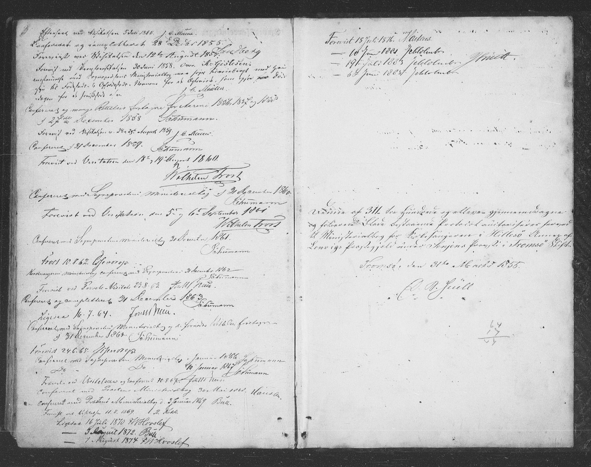 SATØ, Lenvik sokneprestembete, H/Ha: Klokkerbok nr. 20, 1855-1883