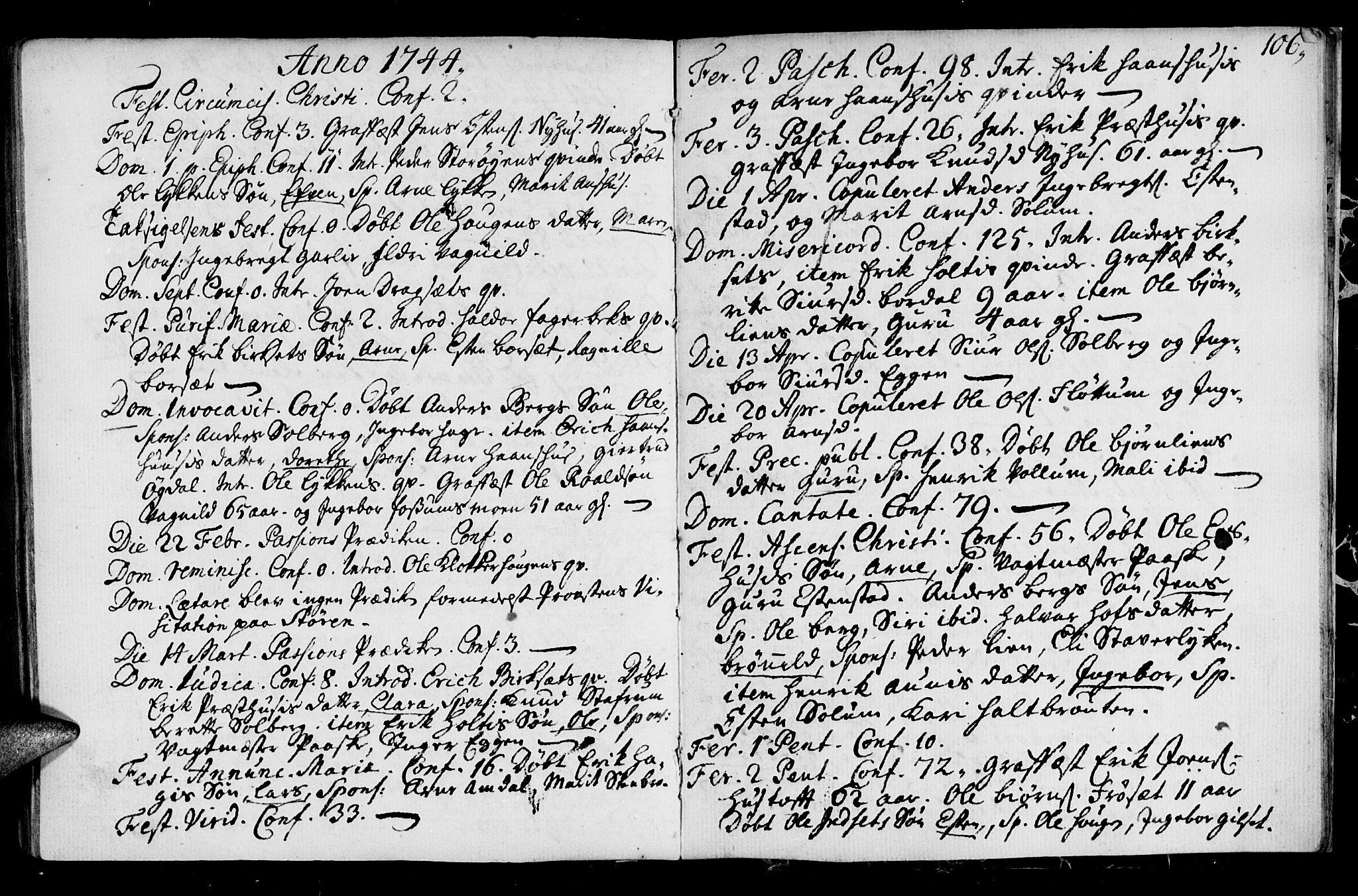 SAT, Ministerialprotokoller, klokkerbøker og fødselsregistre - Sør-Trøndelag, 689/L1036: Ministerialbok nr. 689A01, 1696-1746, s. 106
