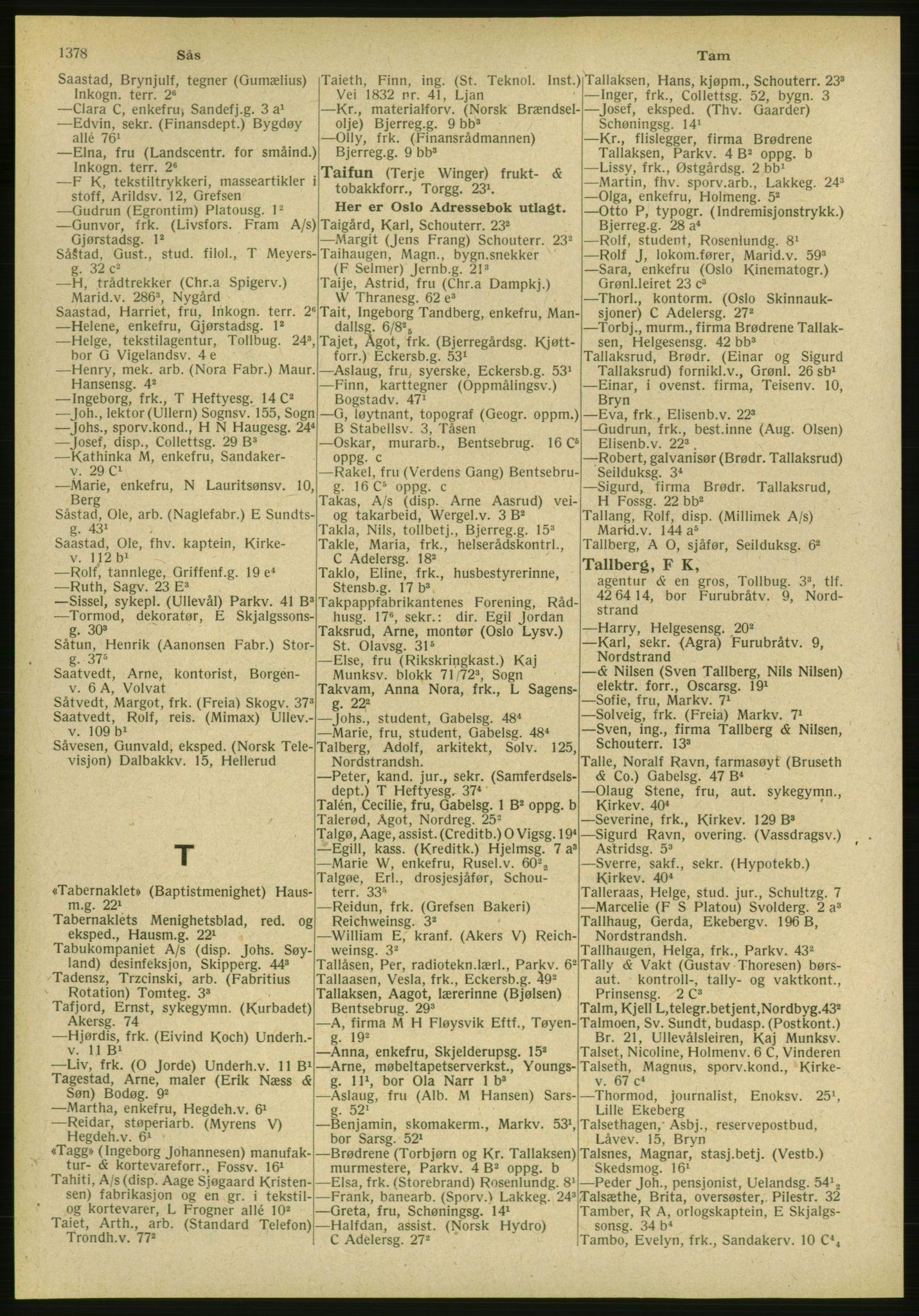 PUBL, Kristiania/Oslo adressebok, 1951, s. 1378