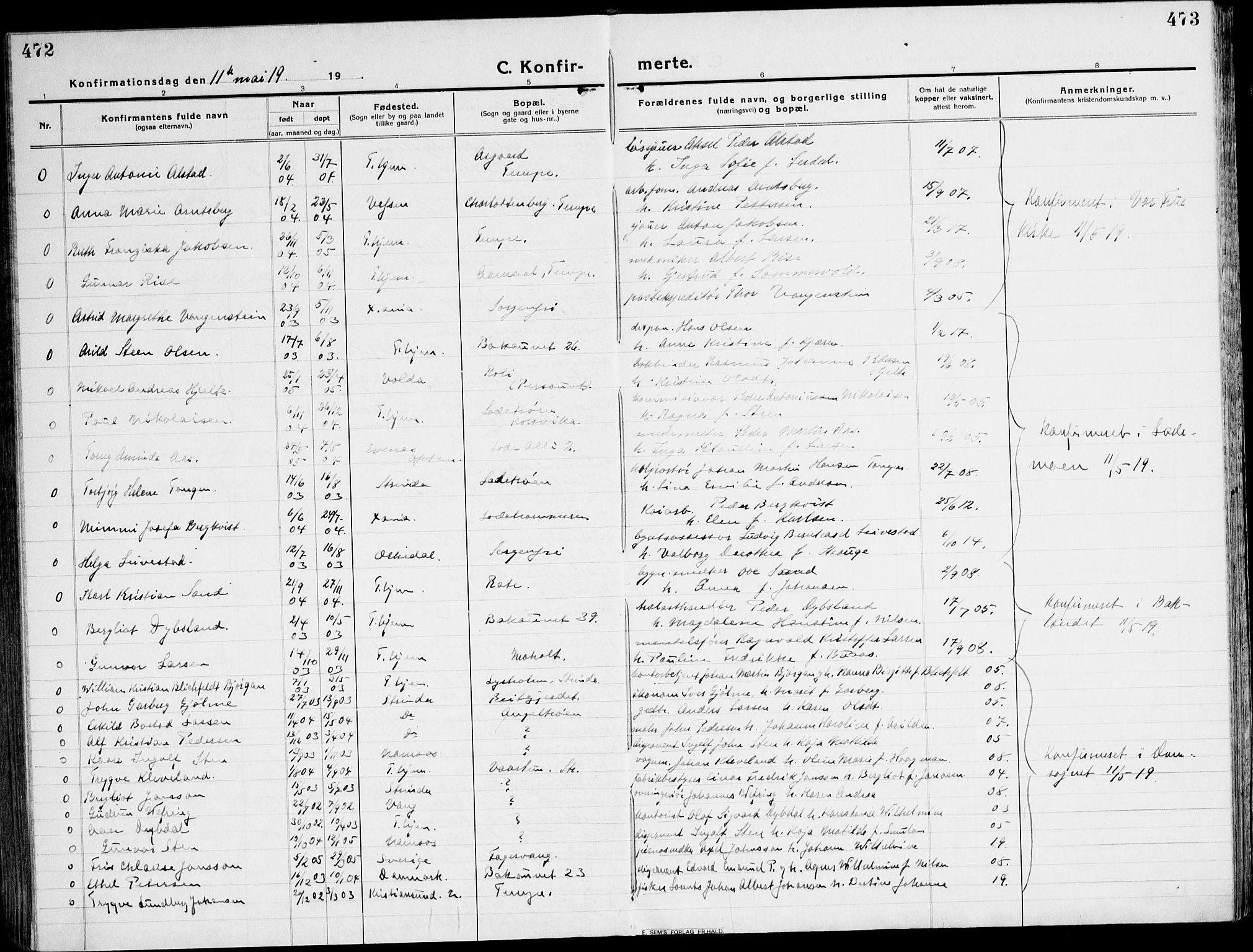SAT, Ministerialprotokoller, klokkerbøker og fødselsregistre - Sør-Trøndelag, 607/L0321: Ministerialbok nr. 607A05, 1916-1935, s. 472-473