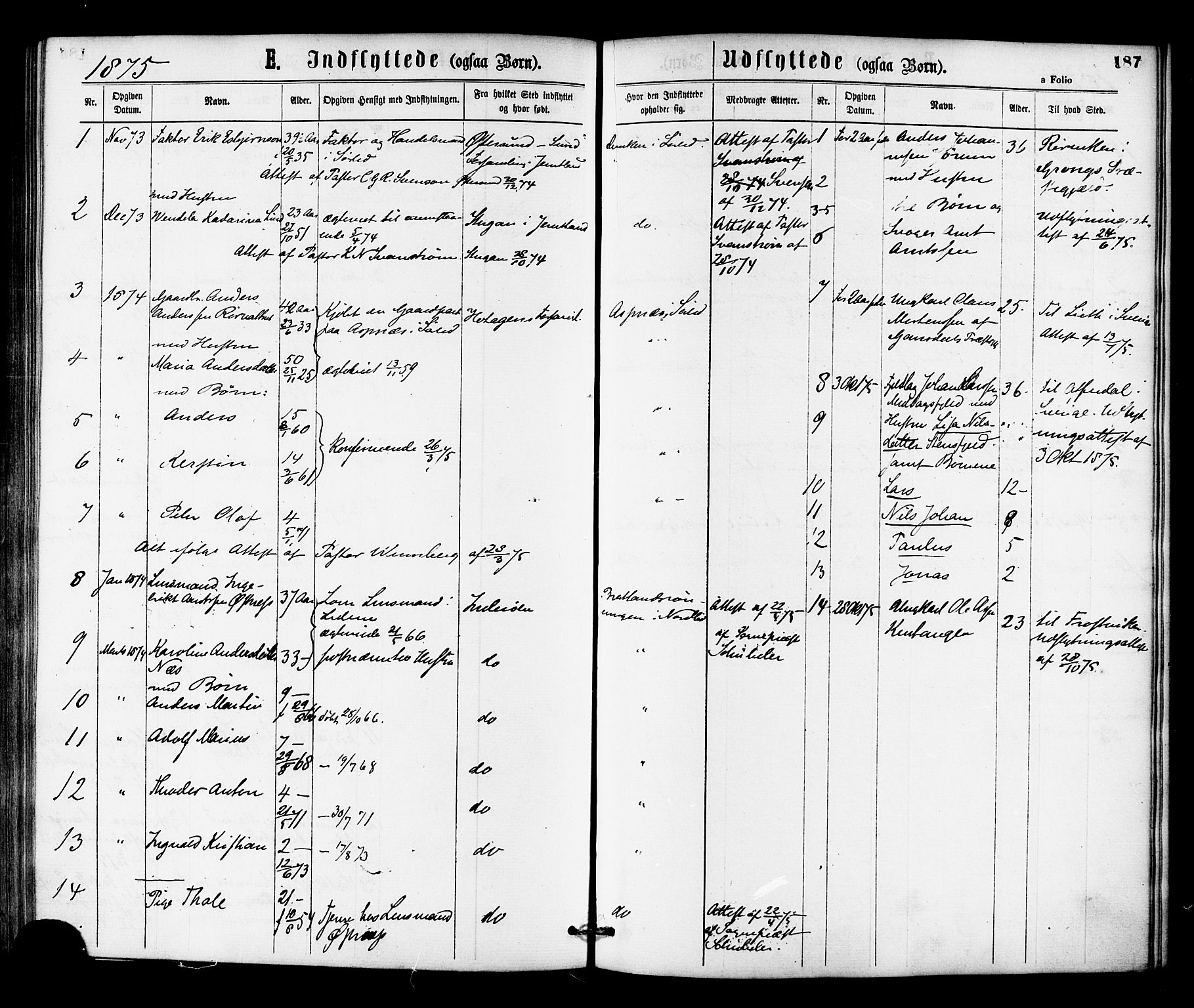 SAT, Ministerialprotokoller, klokkerbøker og fødselsregistre - Nord-Trøndelag, 755/L0493: Ministerialbok nr. 755A02, 1865-1881, s. 187