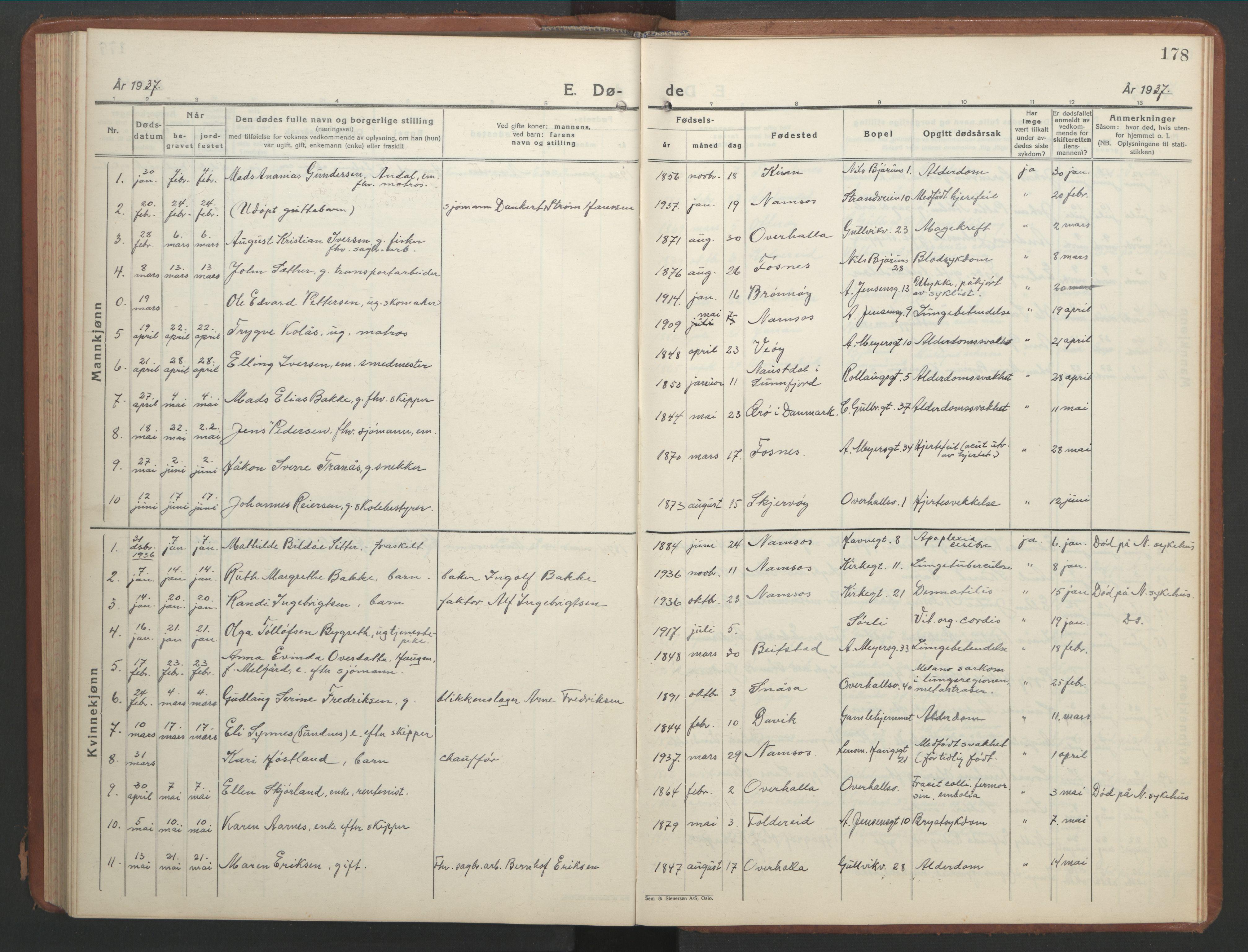 SAT, Ministerialprotokoller, klokkerbøker og fødselsregistre - Nord-Trøndelag, 768/L0583: Klokkerbok nr. 768C01, 1928-1953, s. 178