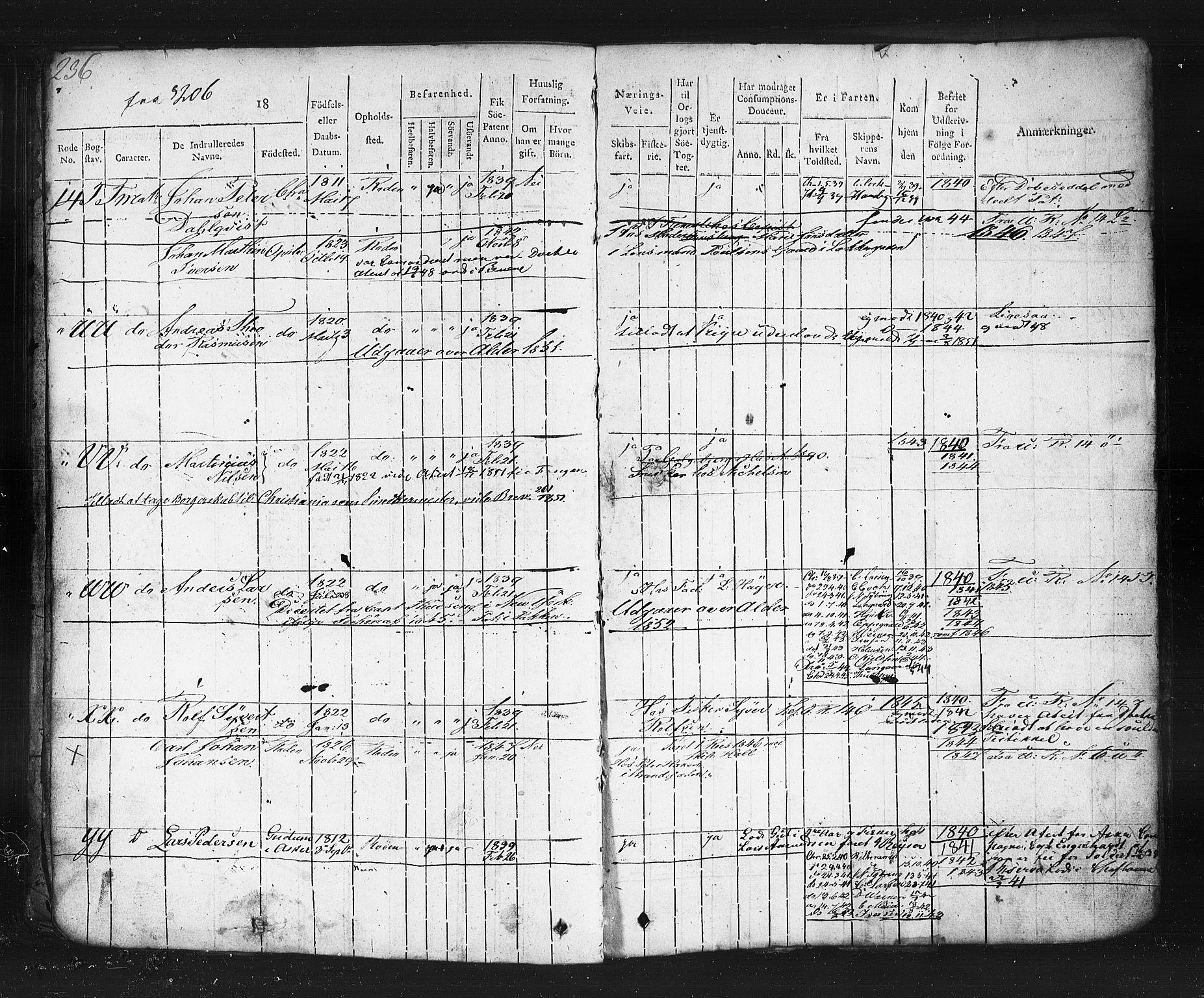 SAO, Oslo mønstringskontor, F/Fc/Fcb/L0001: Hovedrulle, 1819, s. 236
