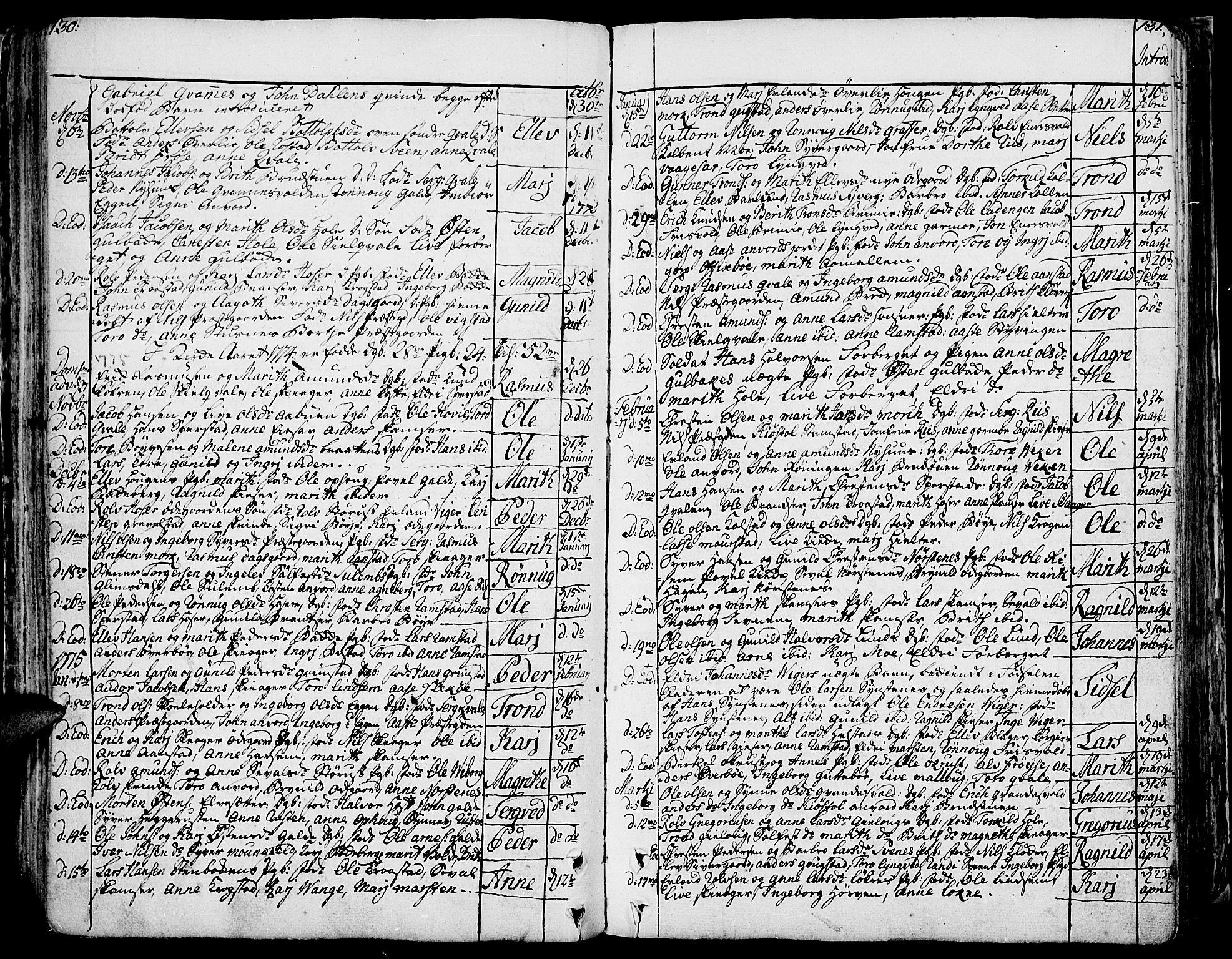 SAH, Lom prestekontor, K/L0002: Ministerialbok nr. 2, 1749-1801, s. 130-131