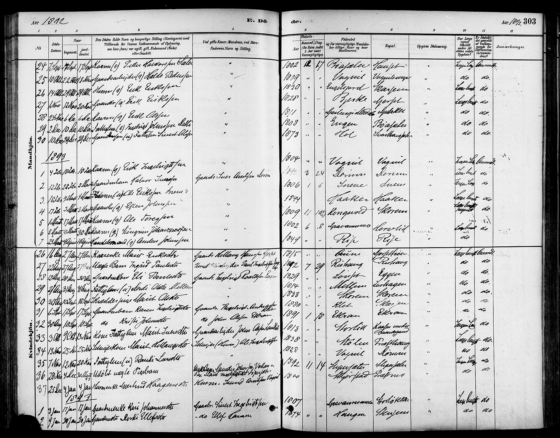 SAT, Ministerialprotokoller, klokkerbøker og fødselsregistre - Sør-Trøndelag, 678/L0901: Ministerialbok nr. 678A10, 1881-1894, s. 303