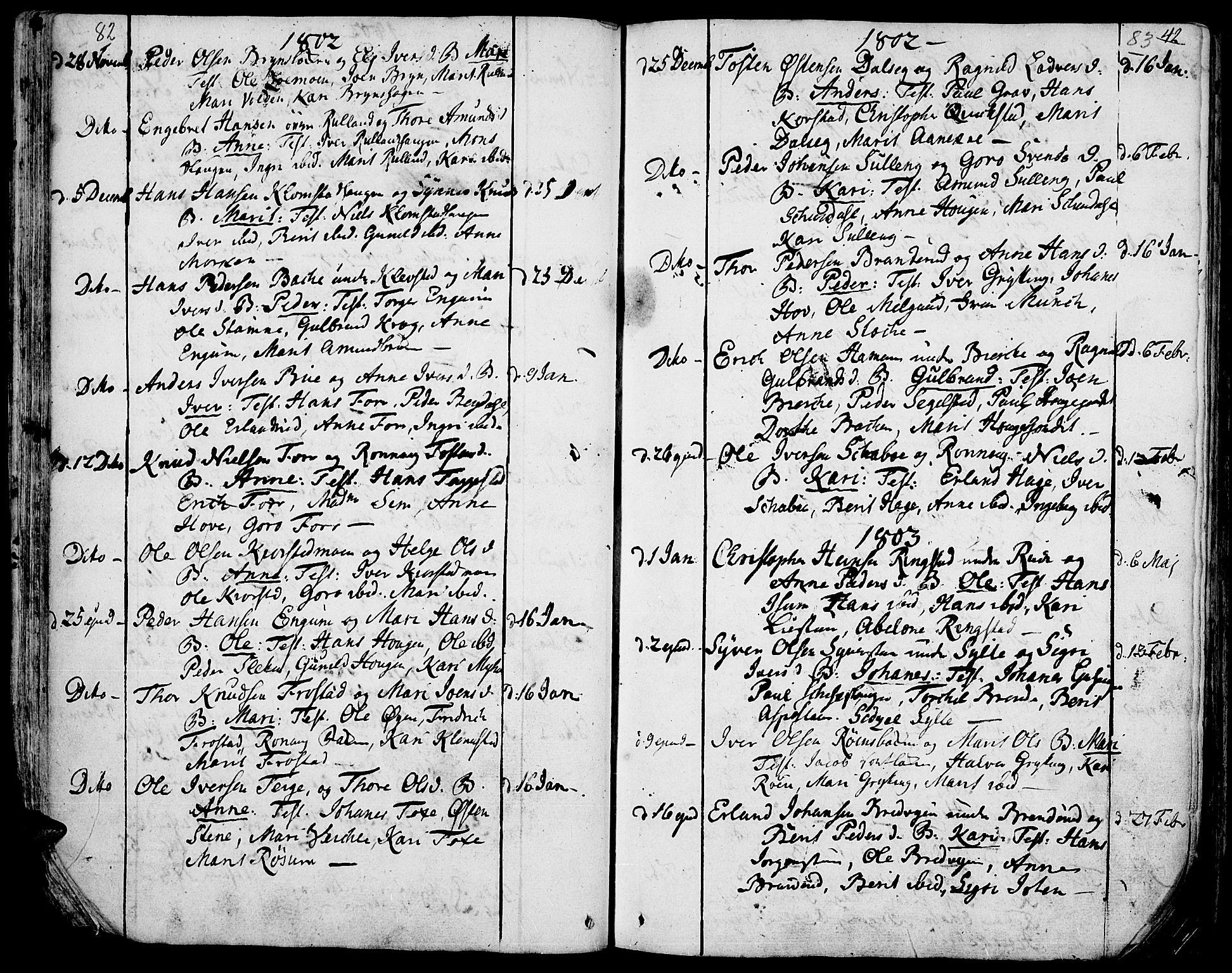SAH, Fron prestekontor, H/Ha/Haa/L0001: Ministerialbok nr. 1, 1799-1816, s. 82-83