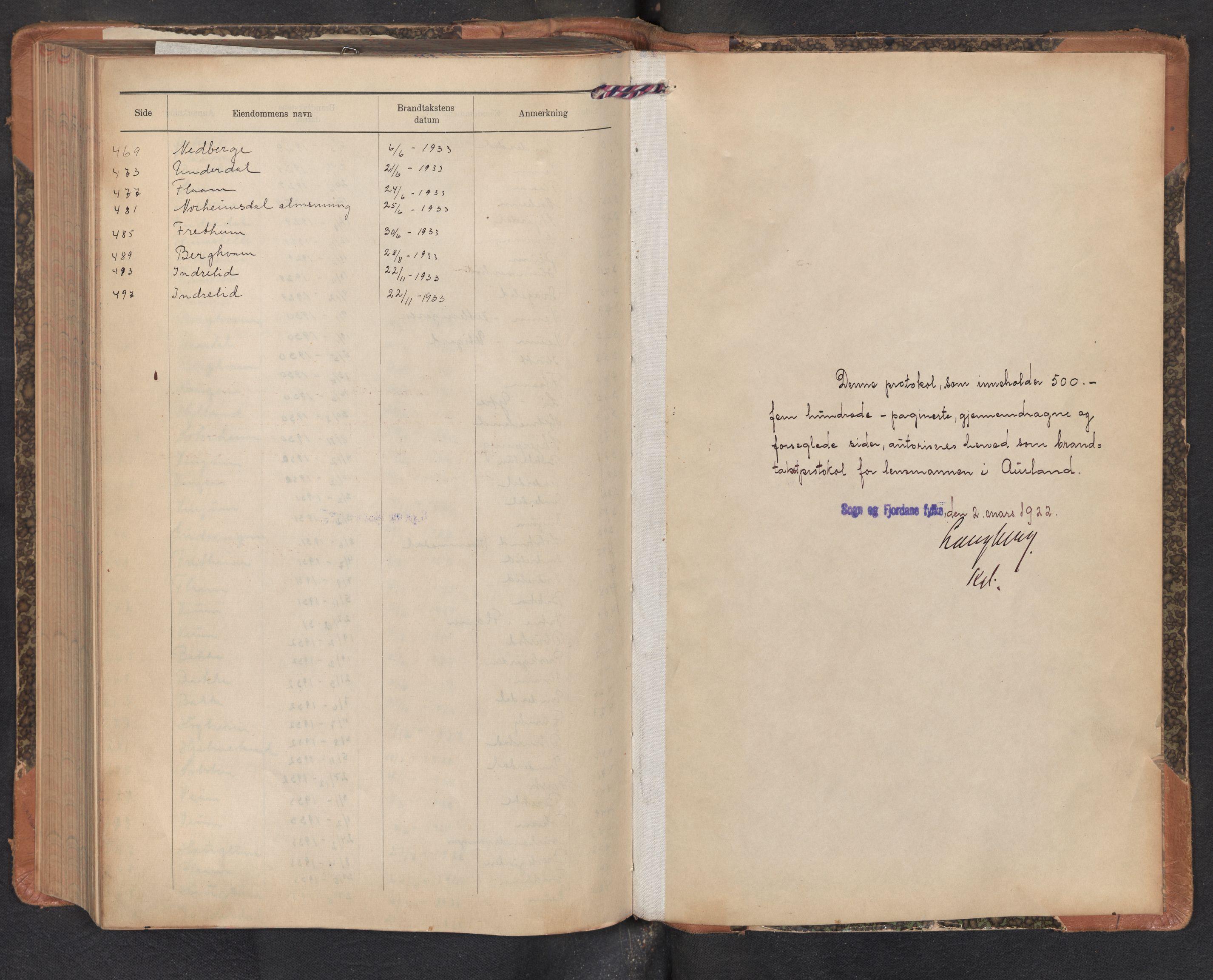 SAB, Lensmannen i Aurland, 0012/L0007: Branntakstprotokoll, skjematakst, 1922-1933