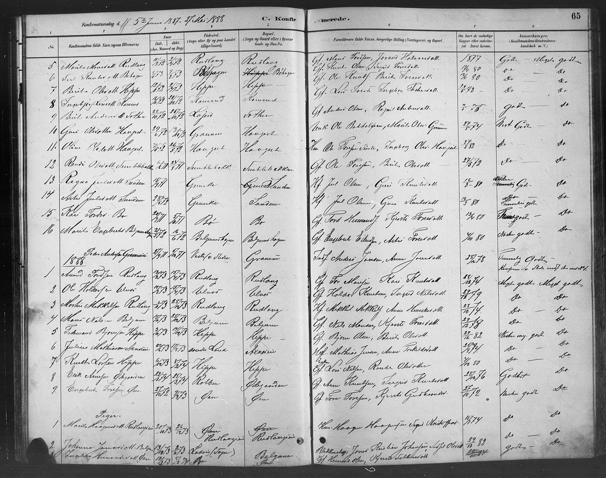 SAH, Nord-Aurdal prestekontor, Klokkerbok nr. 8, 1883-1916, s. 65