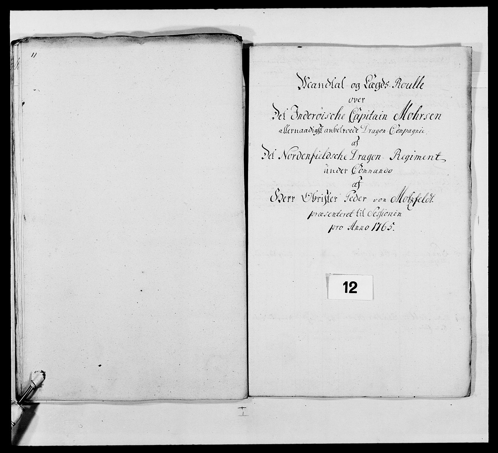 RA, Kommanderende general (KG I) med Det norske krigsdirektorium, E/Ea/L0483: Nordafjelske dragonregiment, 1765-1767, s. 268