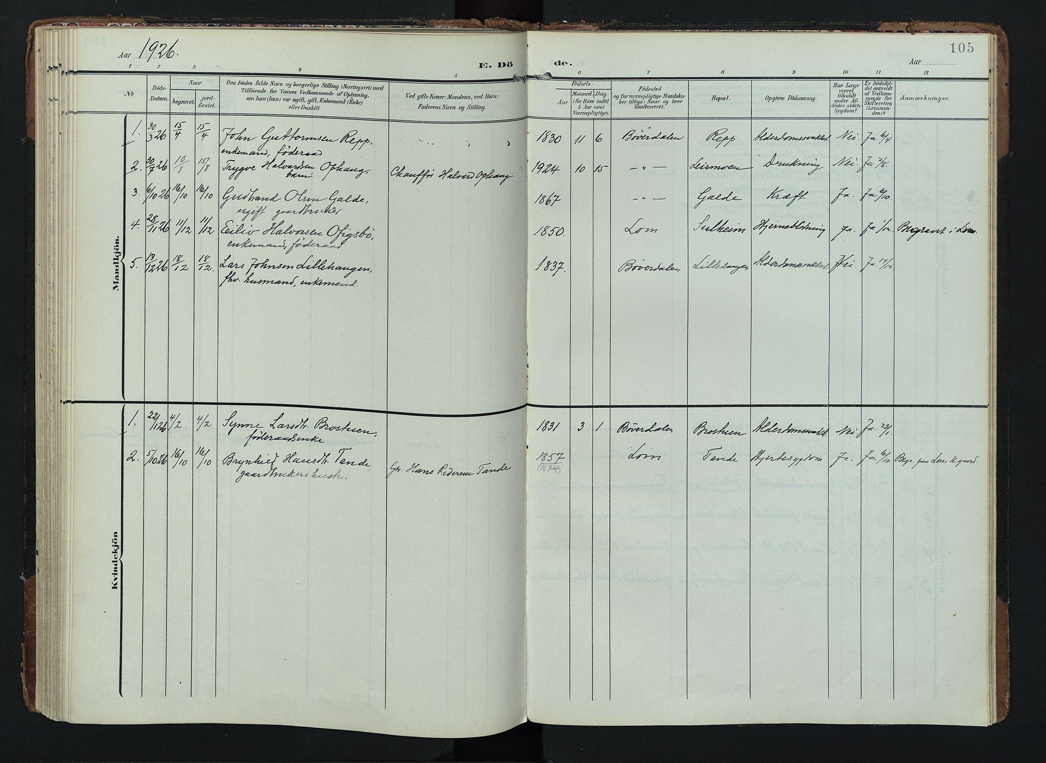 SAH, Lom prestekontor, K/L0012: Ministerialbok nr. 12, 1904-1928, s. 105