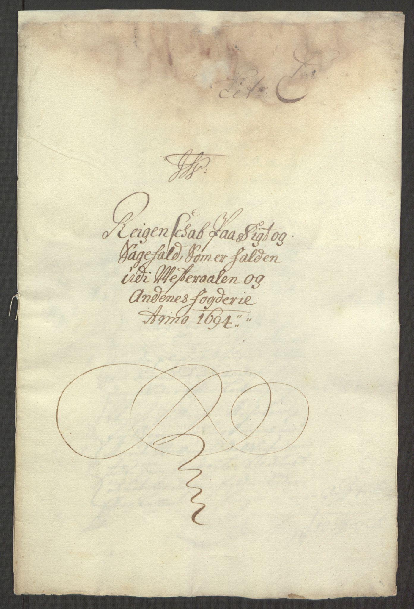 RA, Rentekammeret inntil 1814, Reviderte regnskaper, Fogderegnskap, R67/L4677: Fogderegnskap Vesterålen, Andenes og Lofoten, 1694-1695, s. 145