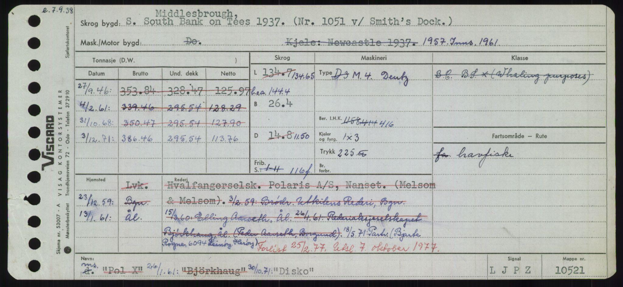 RA, Sjøfartsdirektoratet med forløpere, Skipsmålingen, H/Hd/L0008: Fartøy, C-D, s. 517