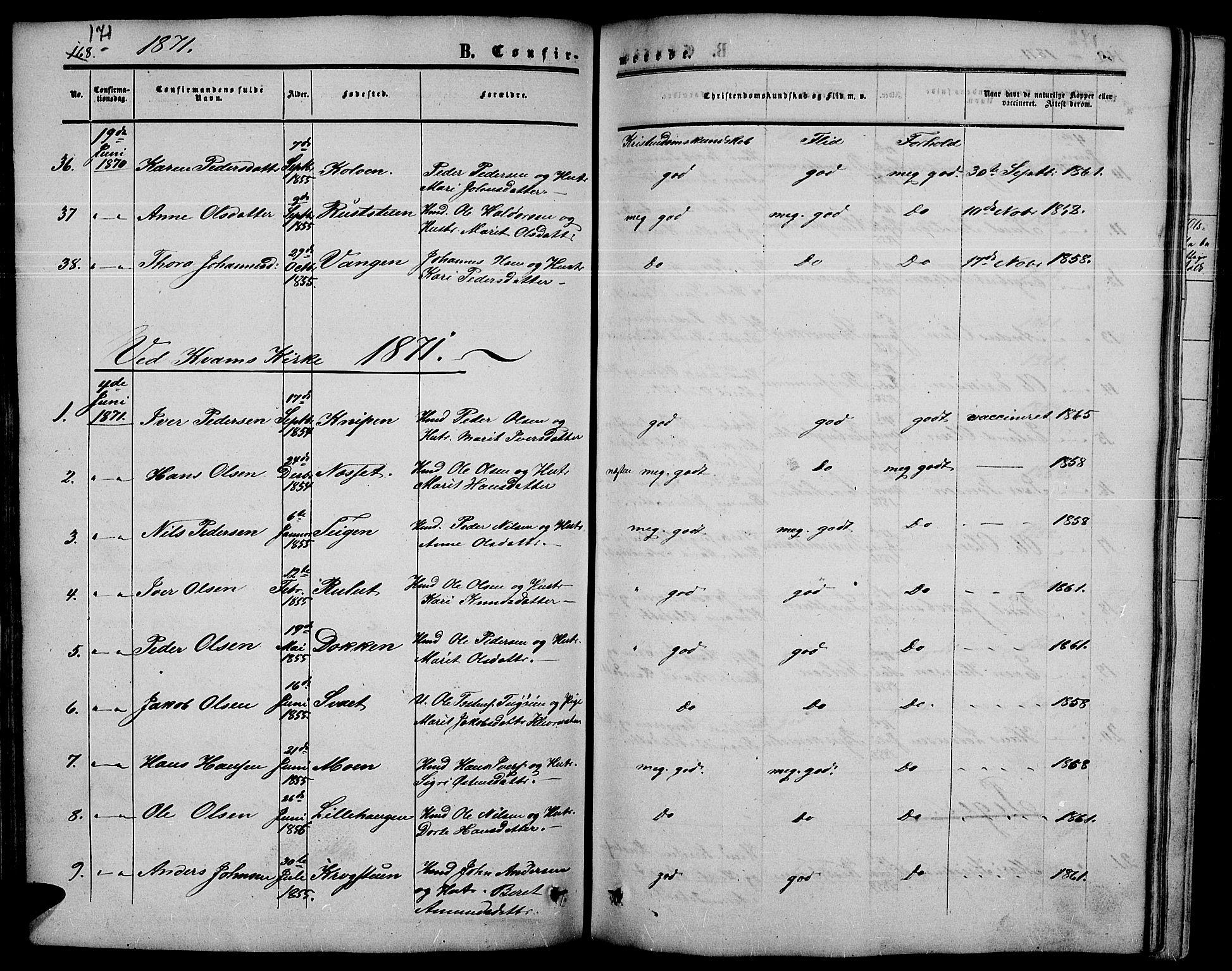 SAH, Nord-Fron prestekontor, Klokkerbok nr. 3, 1851-1886, s. 171