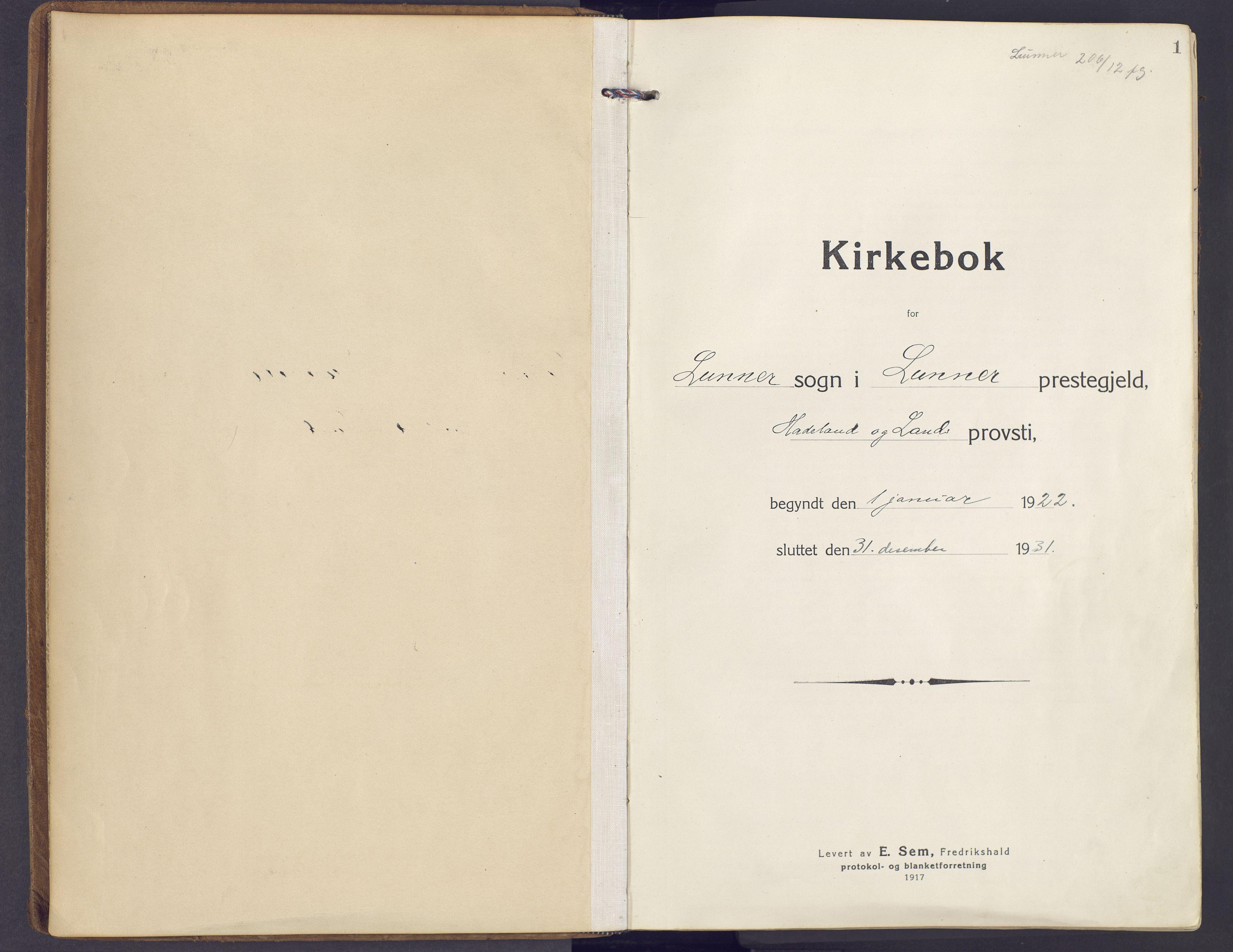 SAH, Lunner prestekontor, H/Ha/Haa/L0002: Ministerialbok nr. 2, 1922-1931, s. 1