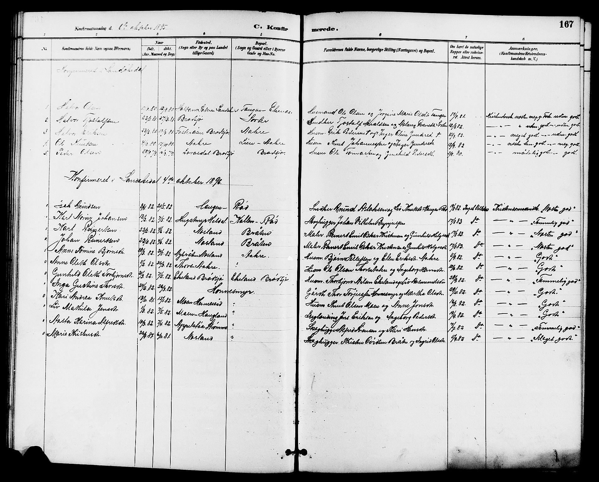 SAKO, Drangedal kirkebøker, G/Ga/L0003: Klokkerbok nr. I 3, 1887-1906, s. 167