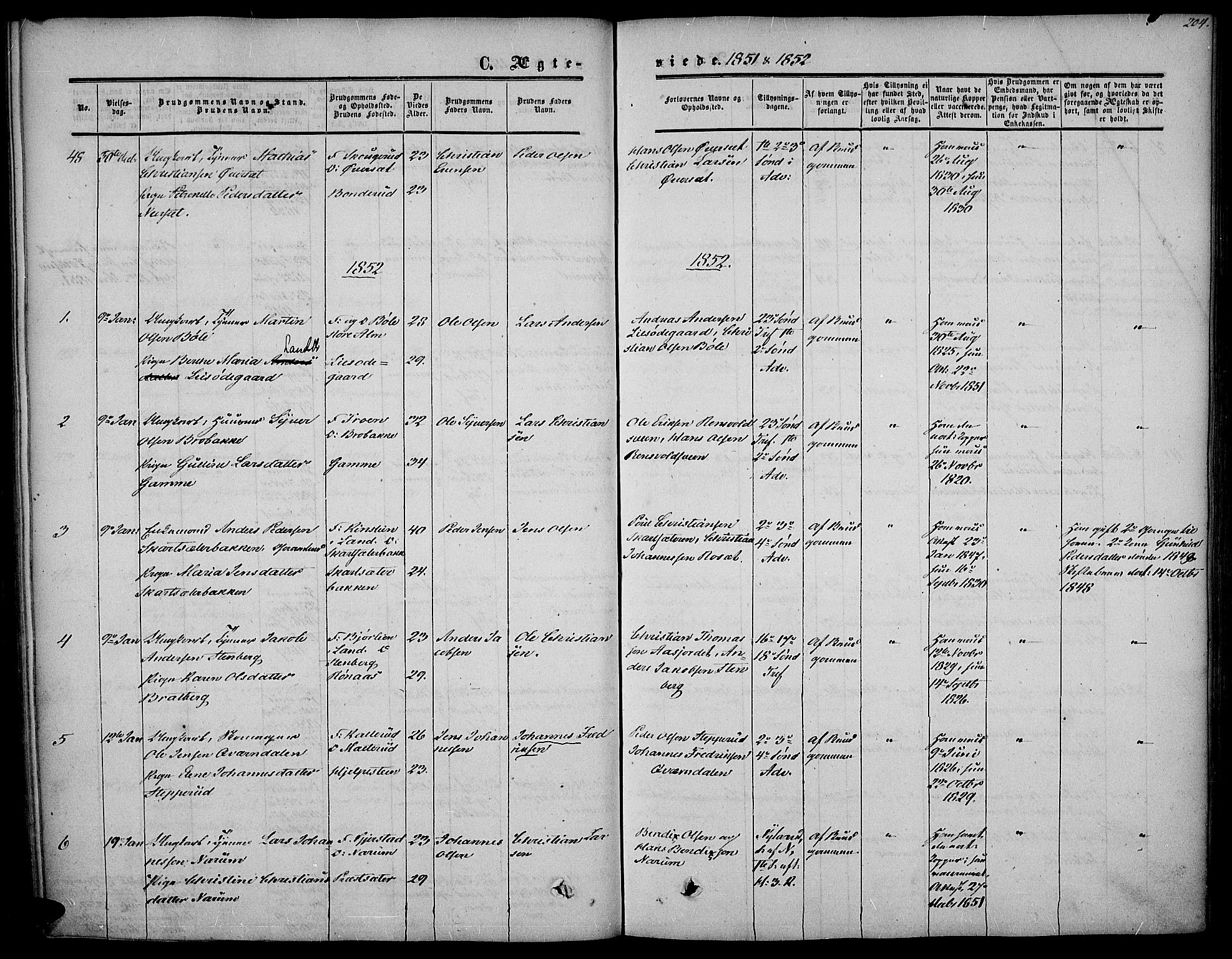 SAH, Vestre Toten prestekontor, H/Ha/Haa/L0005: Ministerialbok nr. 5, 1850-1855, s. 204
