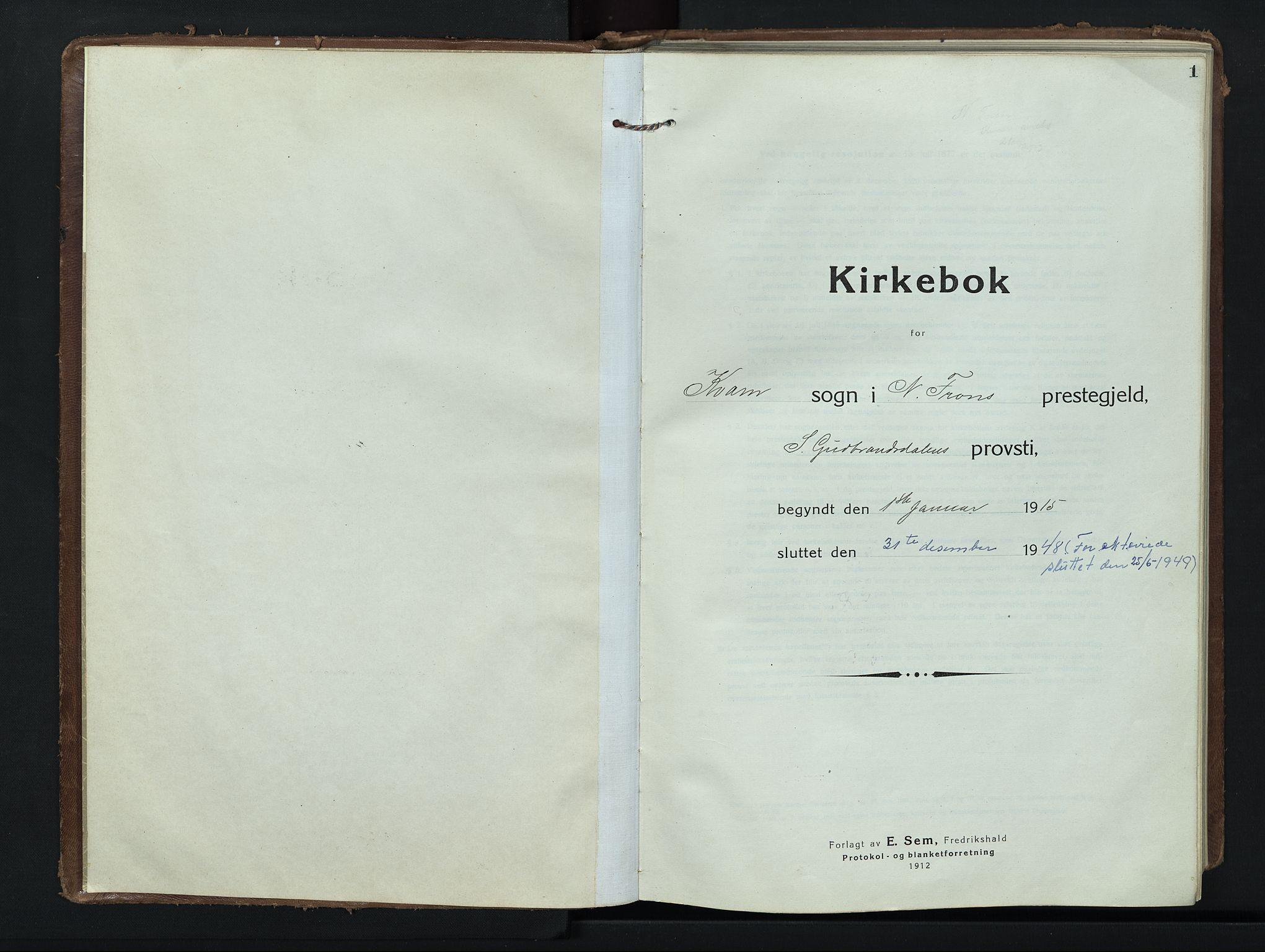 SAH, Nord-Fron prestekontor, Klokkerbok nr. 8, 1915-1948, s. 0-1