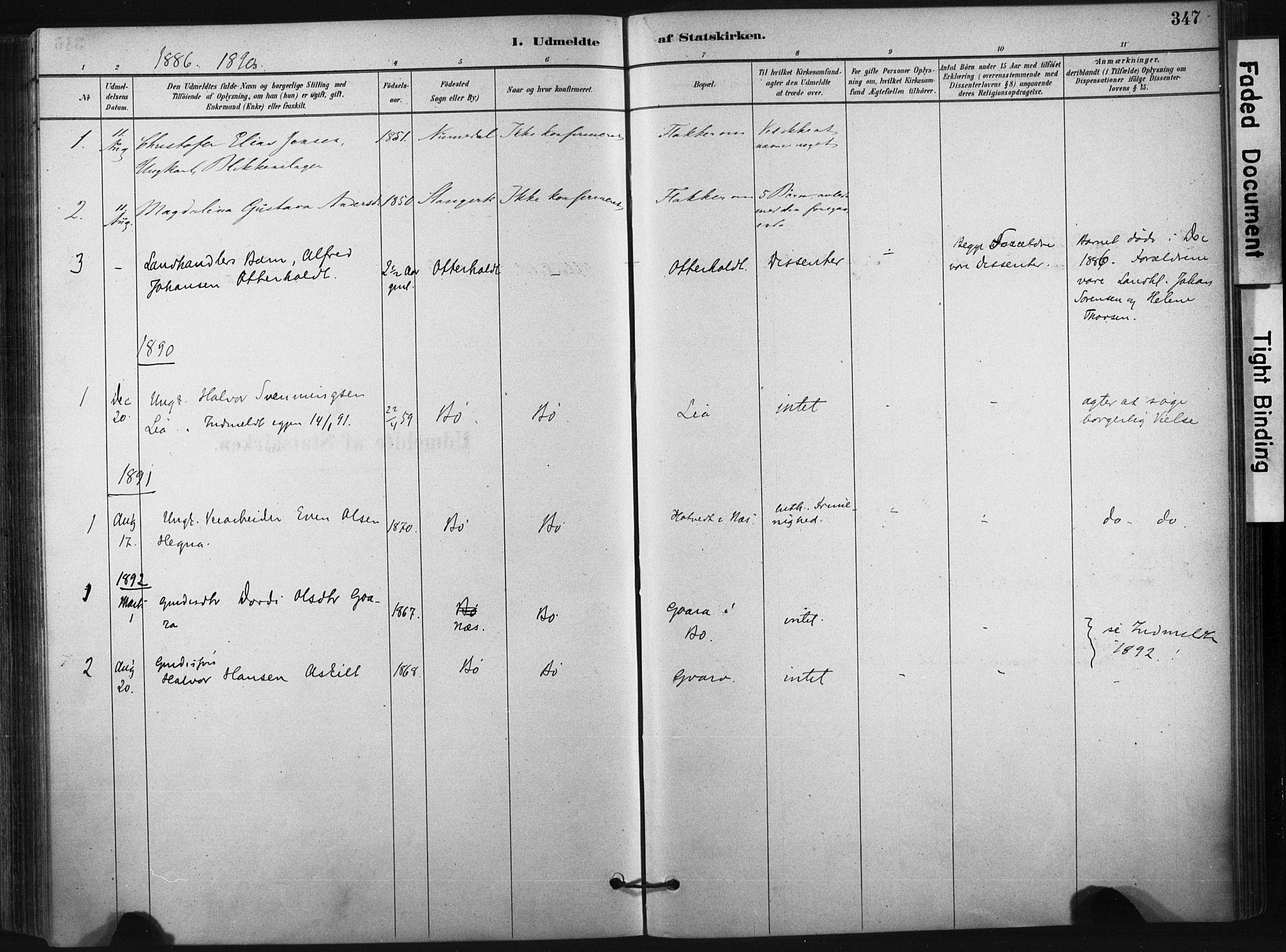 SAKO, Bø kirkebøker, F/Fa/L0010: Ministerialbok nr. 10, 1880-1892, s. 347