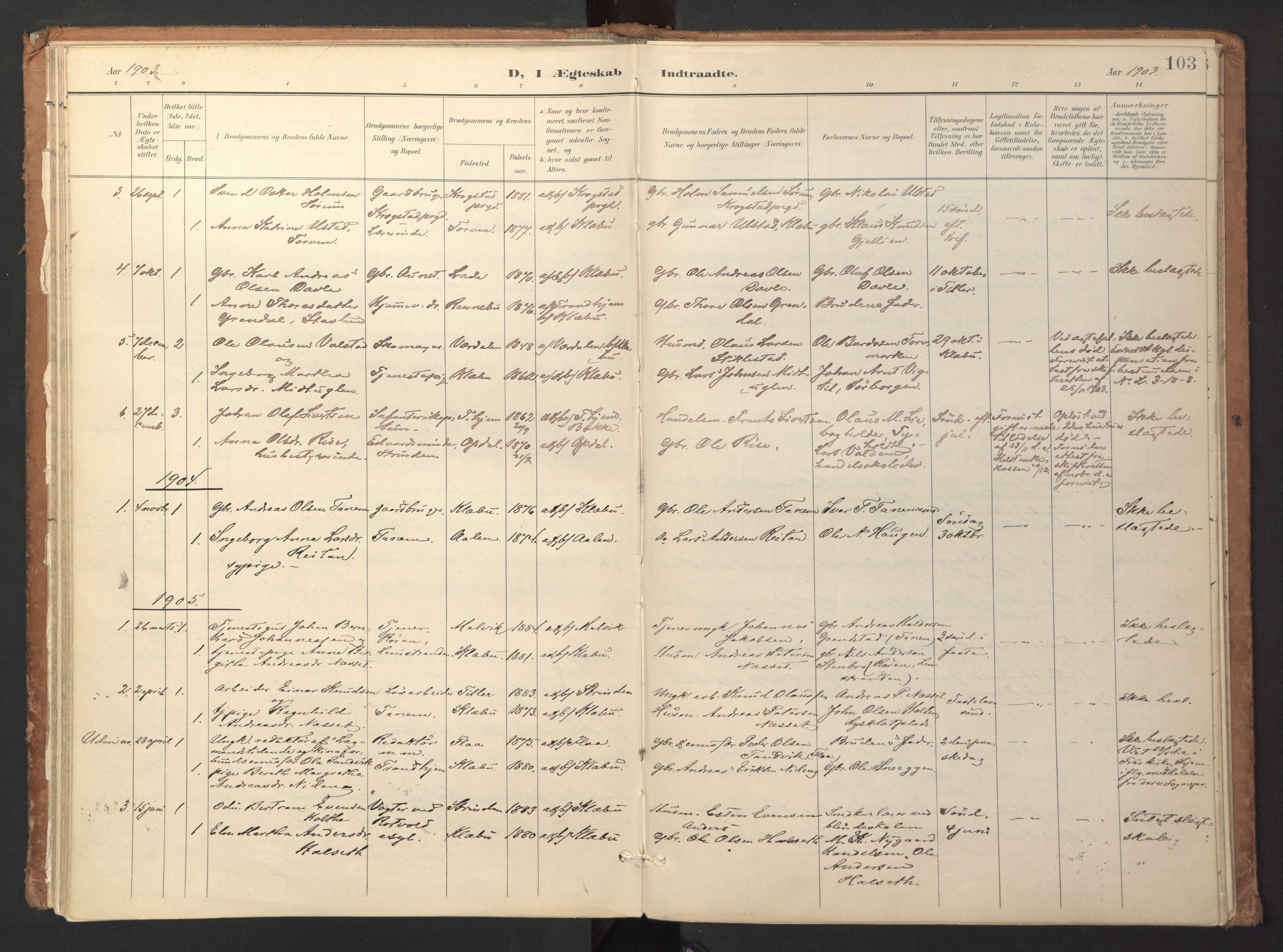 SAT, Ministerialprotokoller, klokkerbøker og fødselsregistre - Sør-Trøndelag, 618/L0448: Ministerialbok nr. 618A11, 1898-1916, s. 103