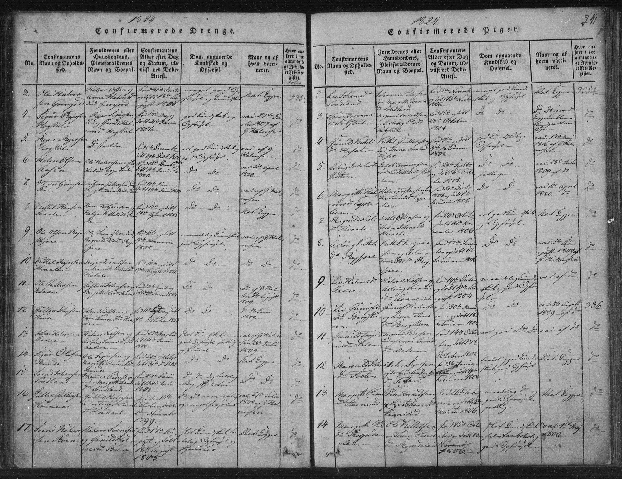 SAKO, Hjartdal kirkebøker, F/Fc/L0001: Ministerialbok nr. III 1, 1815-1843, s. 241