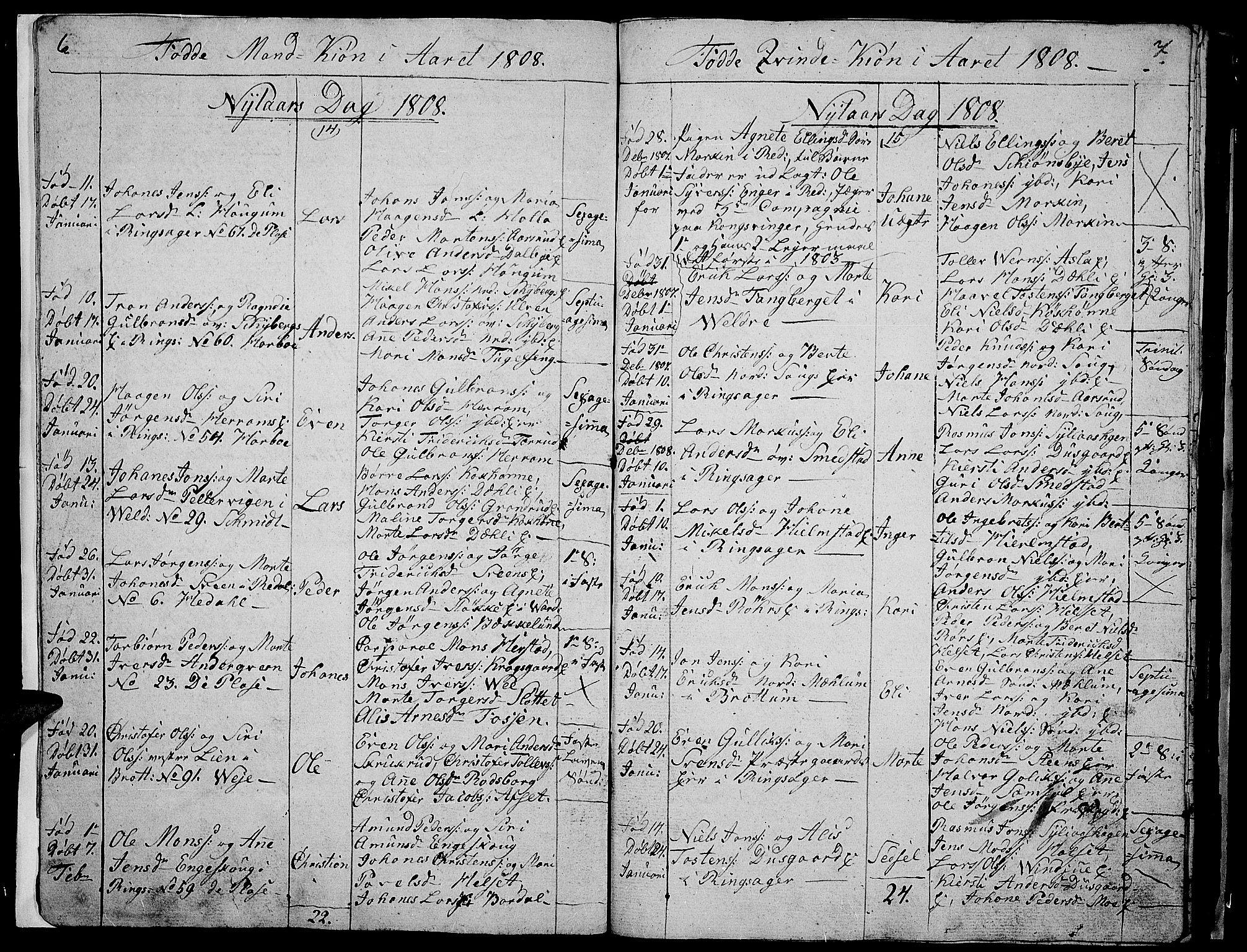SAH, Ringsaker prestekontor, I/Ia/L0005/0008: Kladd til kirkebok nr. 1H, 1807-1811, s. 6-7