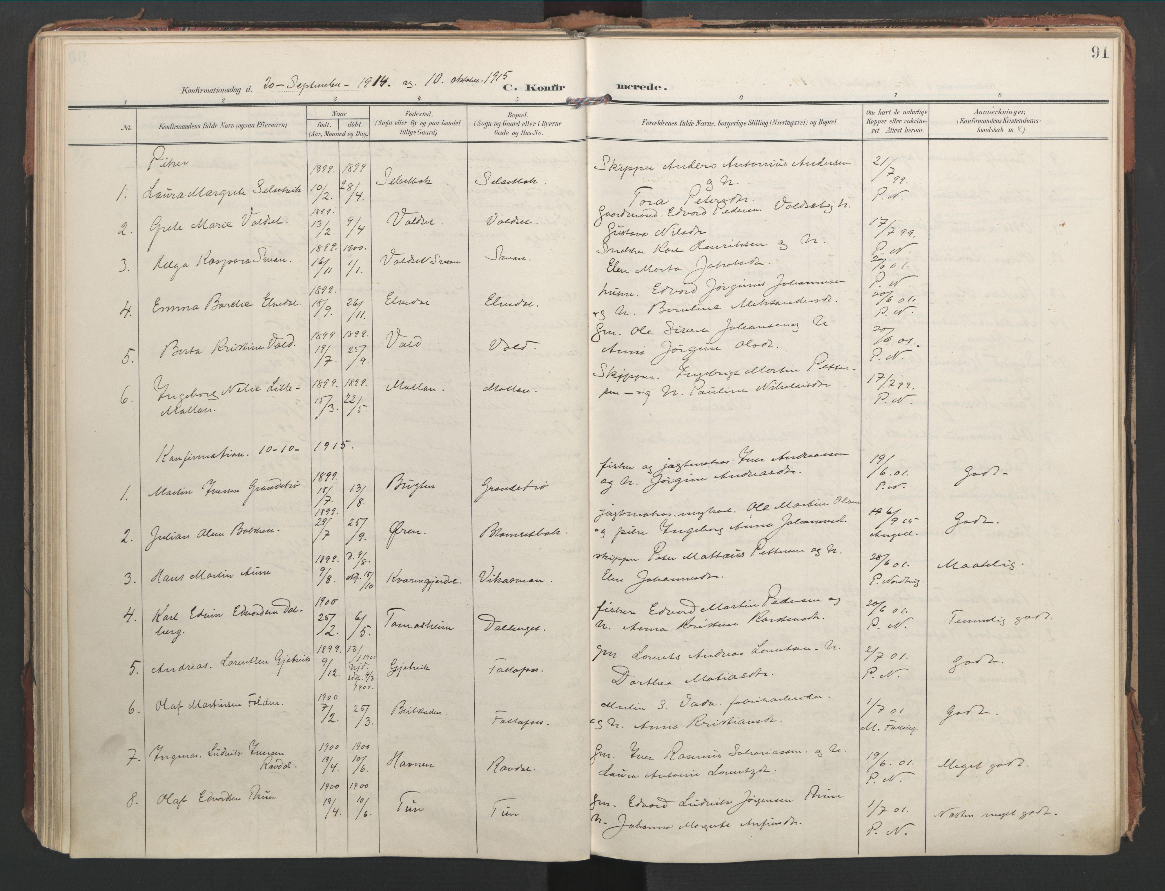 SAT, Ministerialprotokoller, klokkerbøker og fødselsregistre - Nord-Trøndelag, 744/L0421: Ministerialbok nr. 744A05, 1905-1930, s. 91