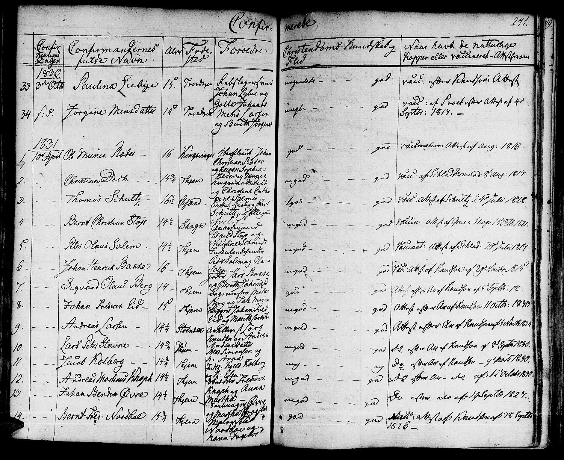 SAT, Ministerialprotokoller, klokkerbøker og fødselsregistre - Sør-Trøndelag, 601/L0045: Ministerialbok nr. 601A13, 1821-1831, s. 241