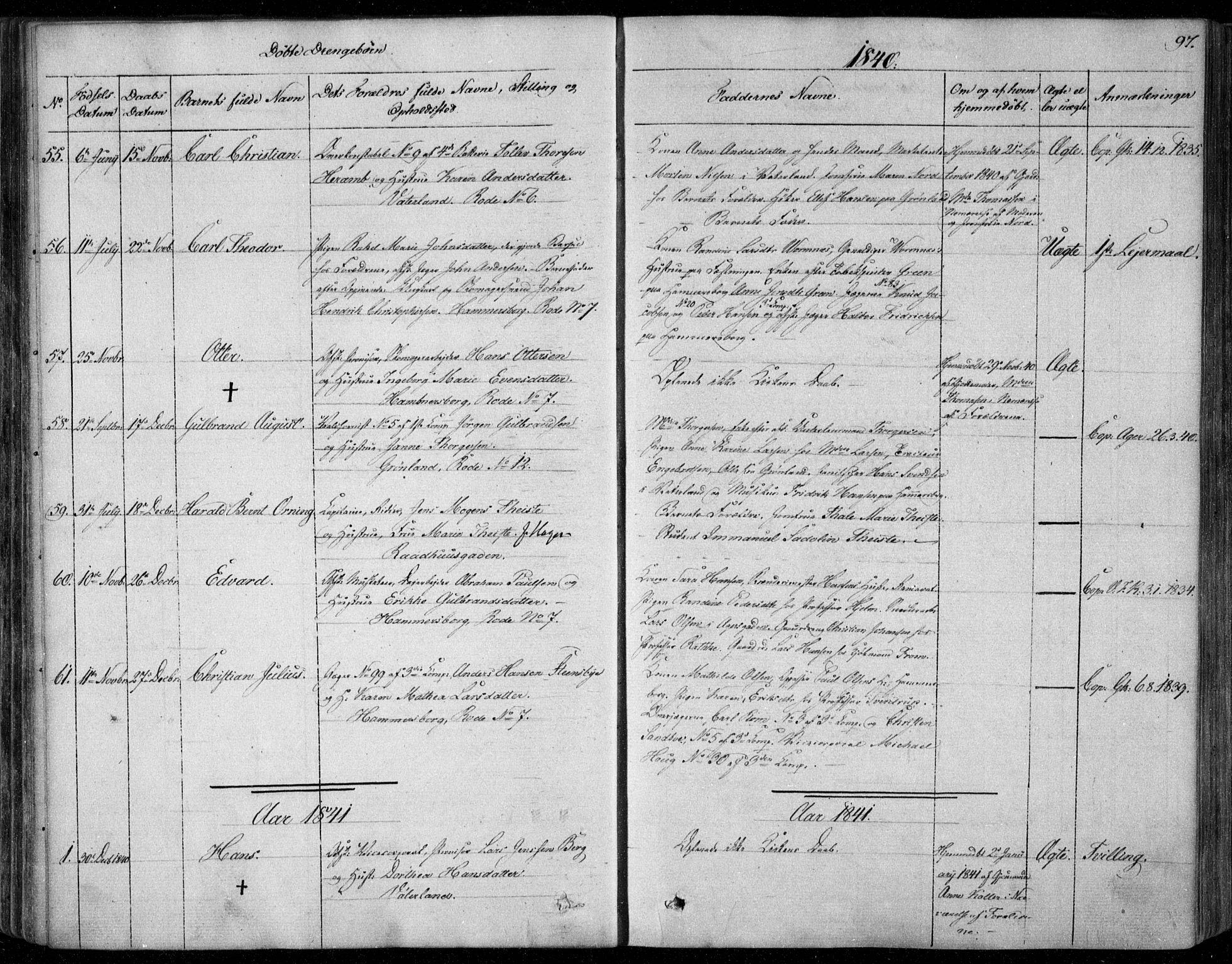 SAO, Garnisonsmenigheten Kirkebøker, F/Fa/L0006: Ministerialbok nr. 6, 1828-1841, s. 97
