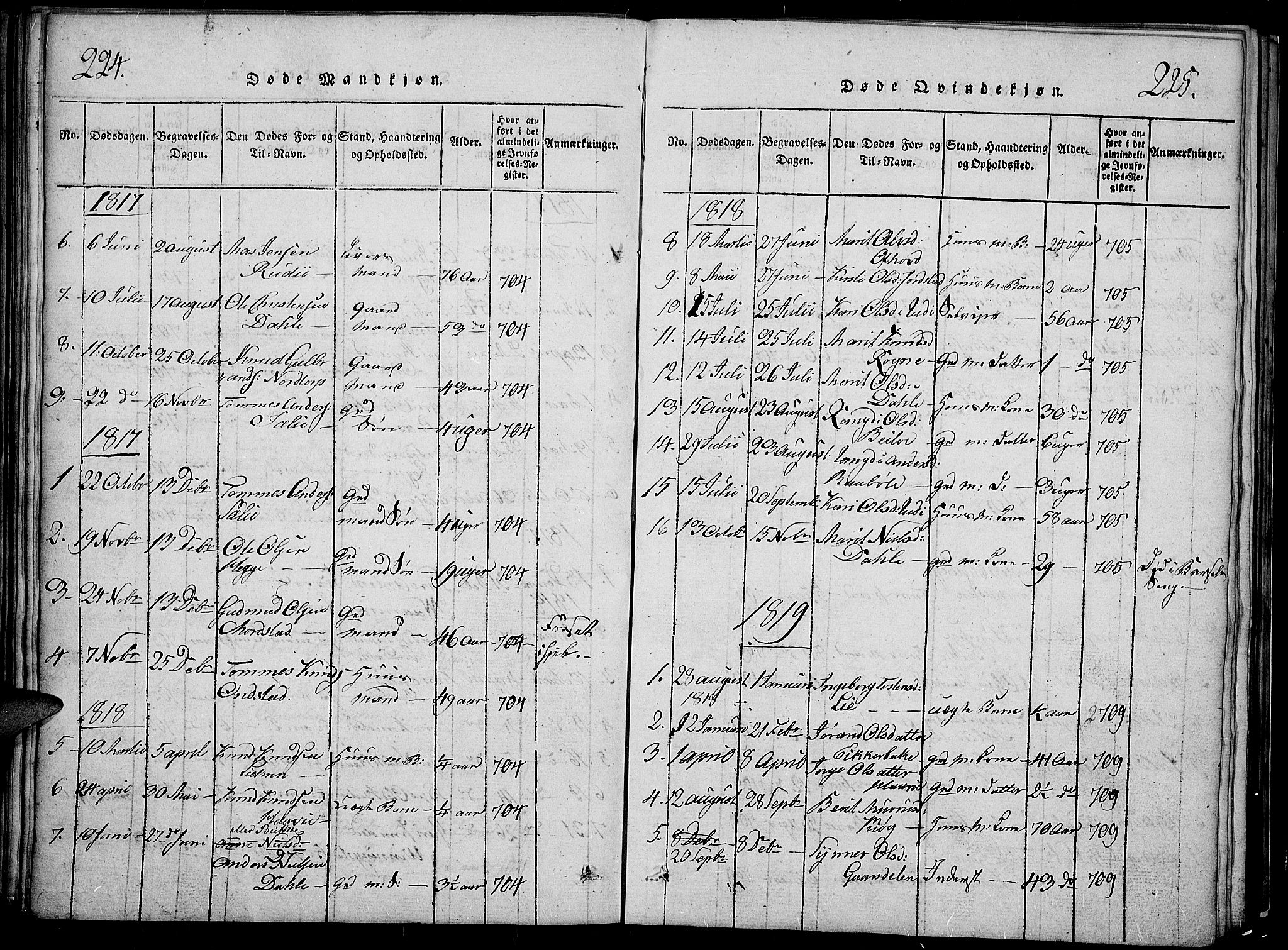 SAH, Slidre prestekontor, Klokkerbok nr. 2, 1814-1839, s. 224-225