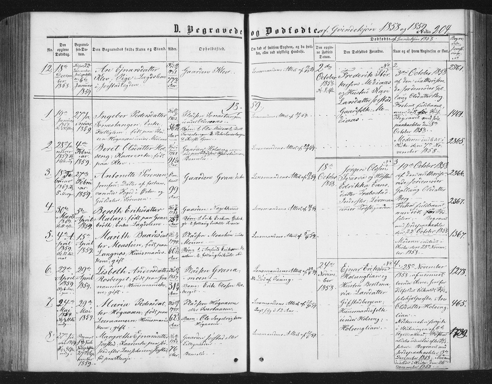 SAT, Ministerialprotokoller, klokkerbøker og fødselsregistre - Nord-Trøndelag, 749/L0472: Ministerialbok nr. 749A06, 1857-1873, s. 204
