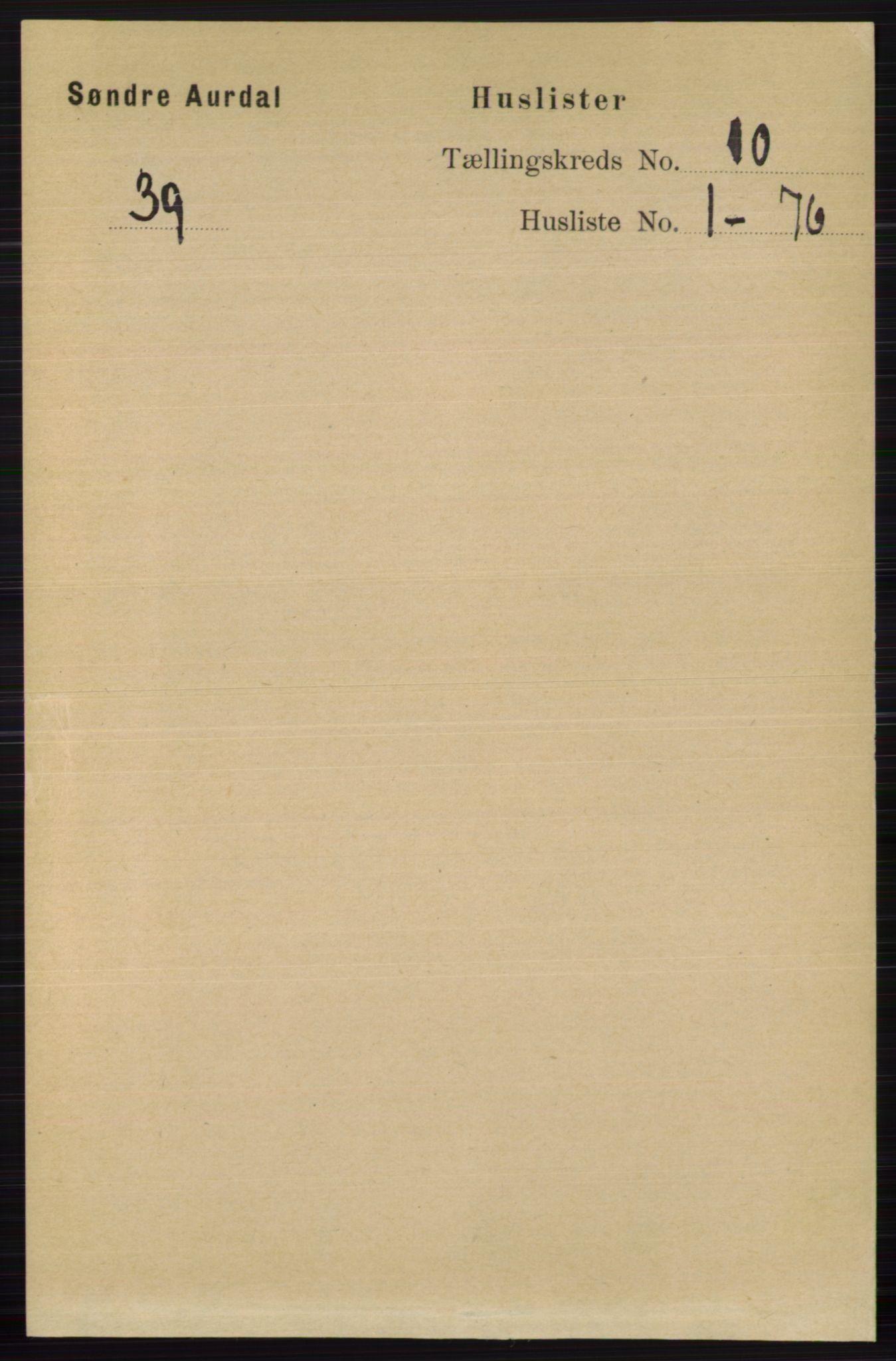 RA, Folketelling 1891 for 0540 Sør-Aurdal herred, 1891, s. 5791