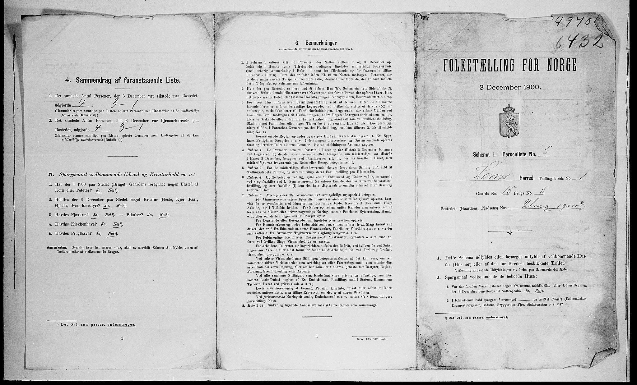 SAH, Folketelling 1900 for 0514 Lom herred, 1900, s. 42