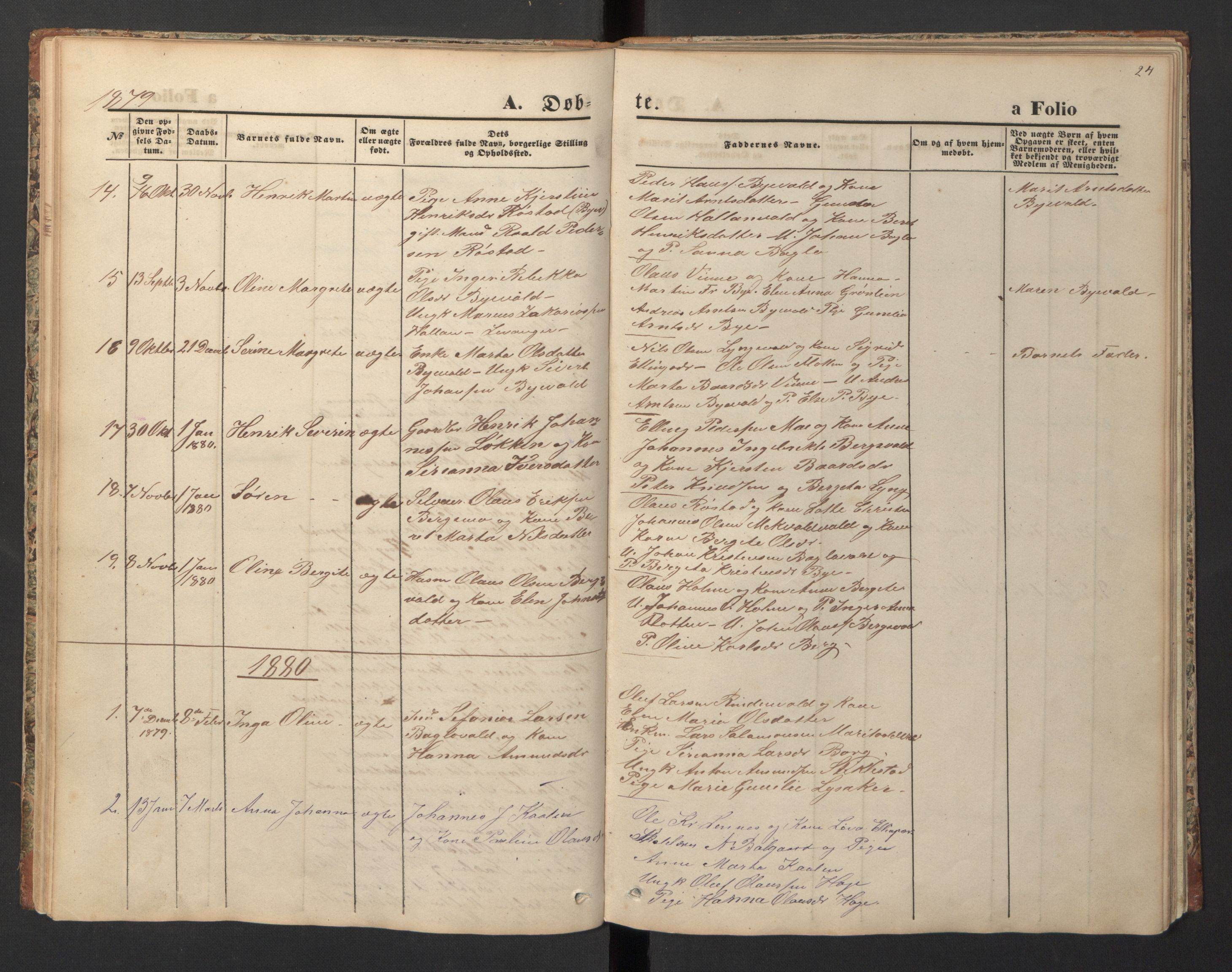 SAT, Ministerialprotokoller, klokkerbøker og fødselsregistre - Nord-Trøndelag, 726/L0271: Klokkerbok nr. 726C02, 1869-1897, s. 24