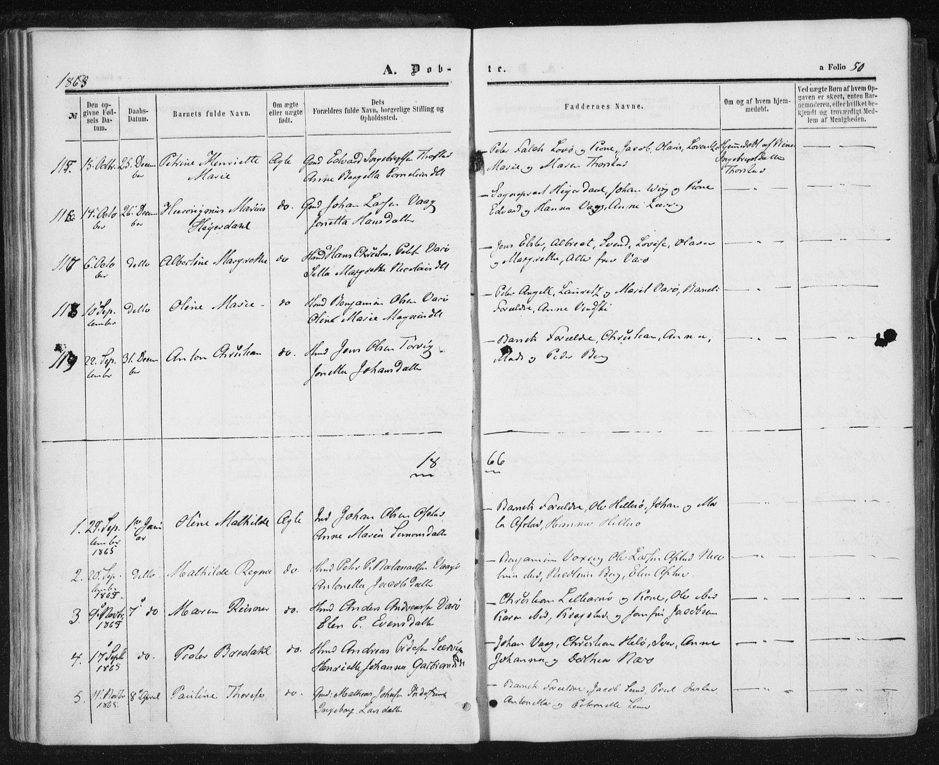 SAT, Ministerialprotokoller, klokkerbøker og fødselsregistre - Nord-Trøndelag, 784/L0670: Ministerialbok nr. 784A05, 1860-1876, s. 50