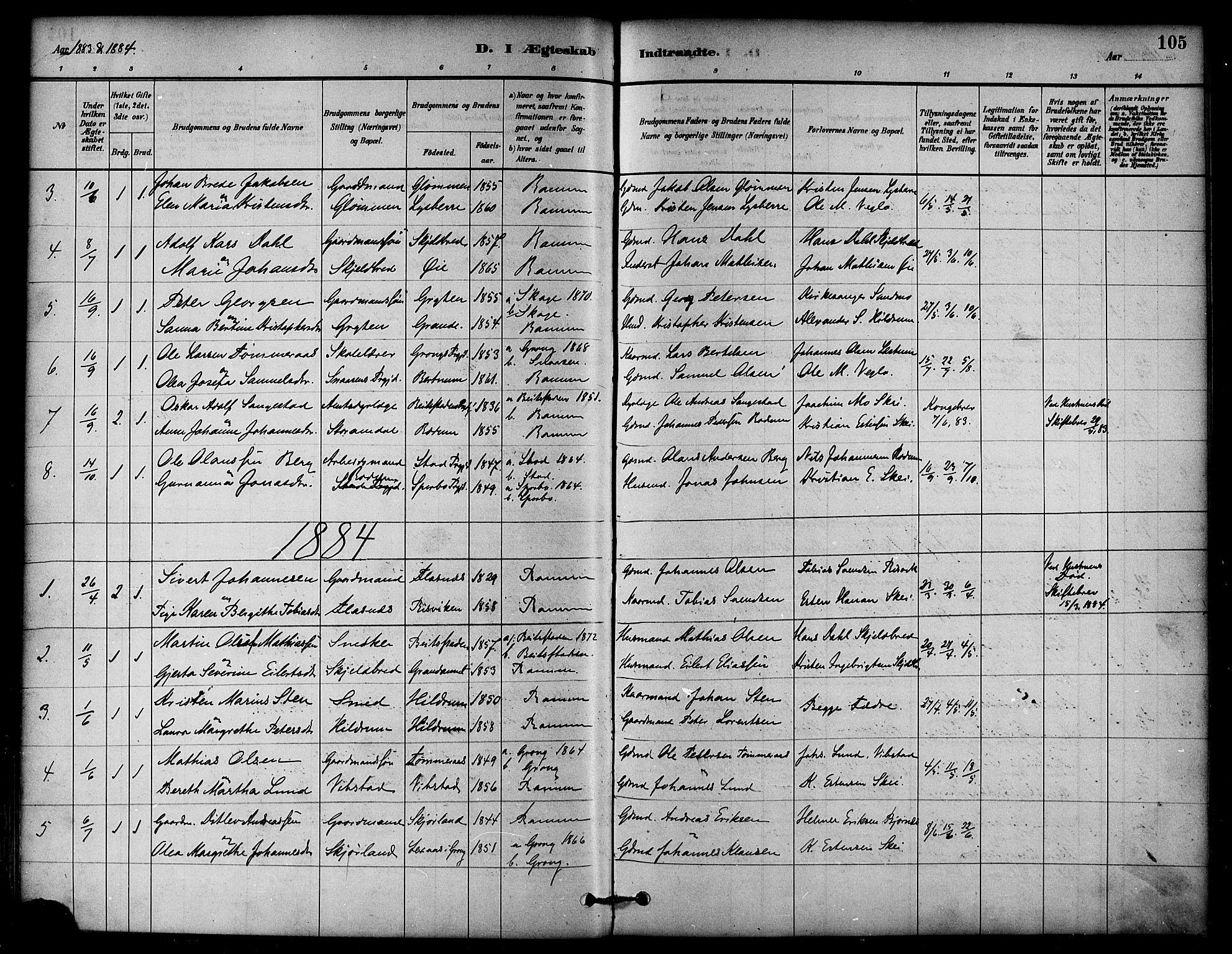 SAT, Ministerialprotokoller, klokkerbøker og fødselsregistre - Nord-Trøndelag, 764/L0555: Ministerialbok nr. 764A10, 1881-1896, s. 105