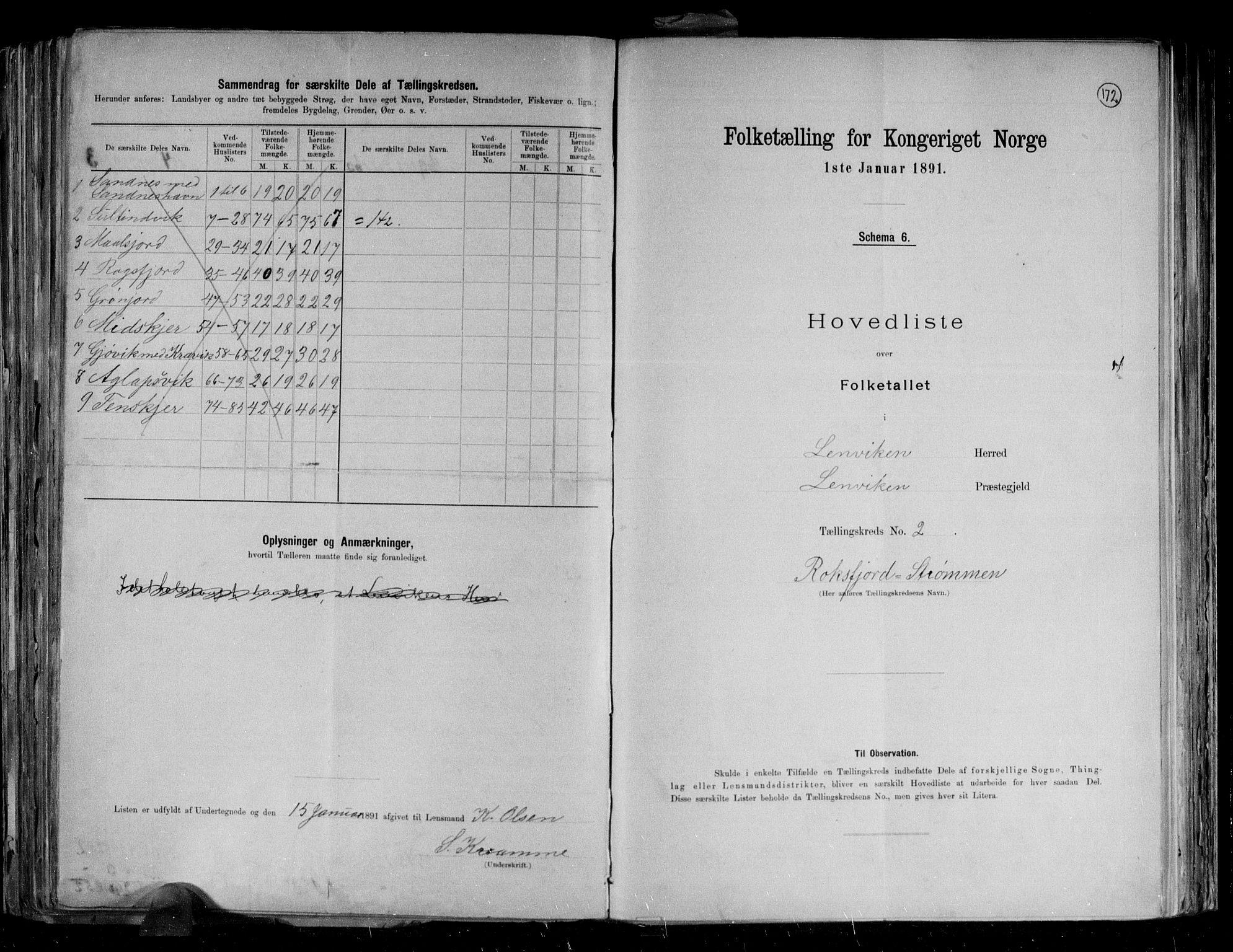 RA, Folketelling 1891 for 1931 Lenvik herred, 1891, s. 9