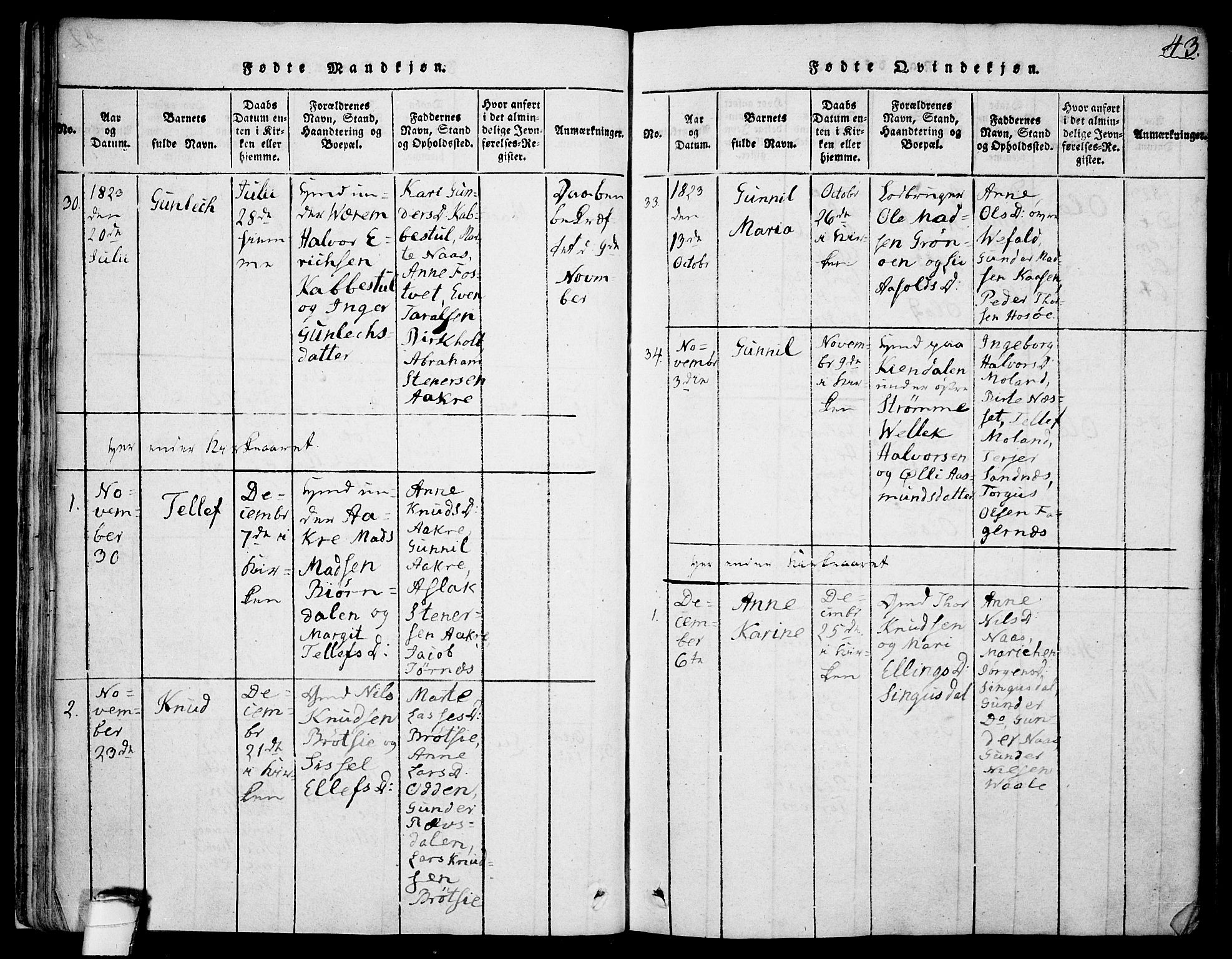 SAKO, Drangedal kirkebøker, F/Fa/L0005: Ministerialbok nr. 5 /1, 1814-1831, s. 43