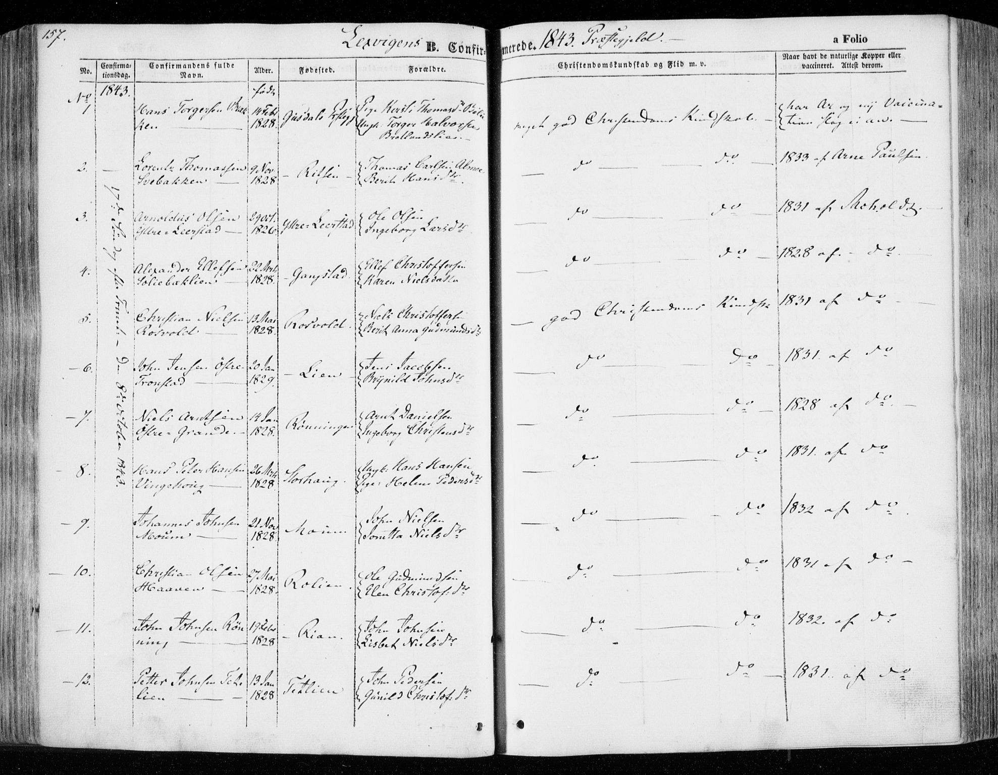 SAT, Ministerialprotokoller, klokkerbøker og fødselsregistre - Nord-Trøndelag, 701/L0007: Ministerialbok nr. 701A07 /1, 1842-1854, s. 157
