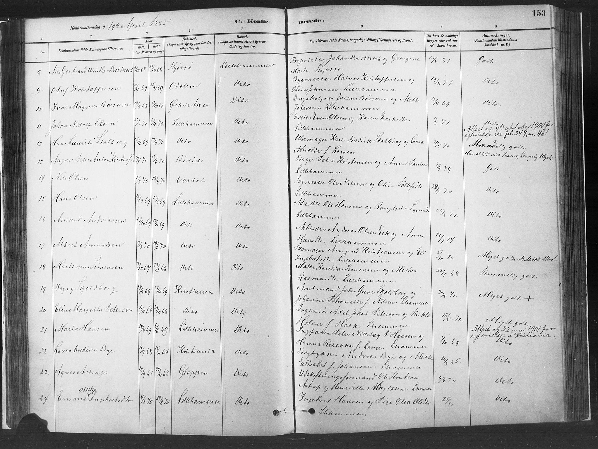 SAH, Fåberg prestekontor, H/Ha/Haa/L0010: Ministerialbok nr. 10, 1879-1900, s. 153