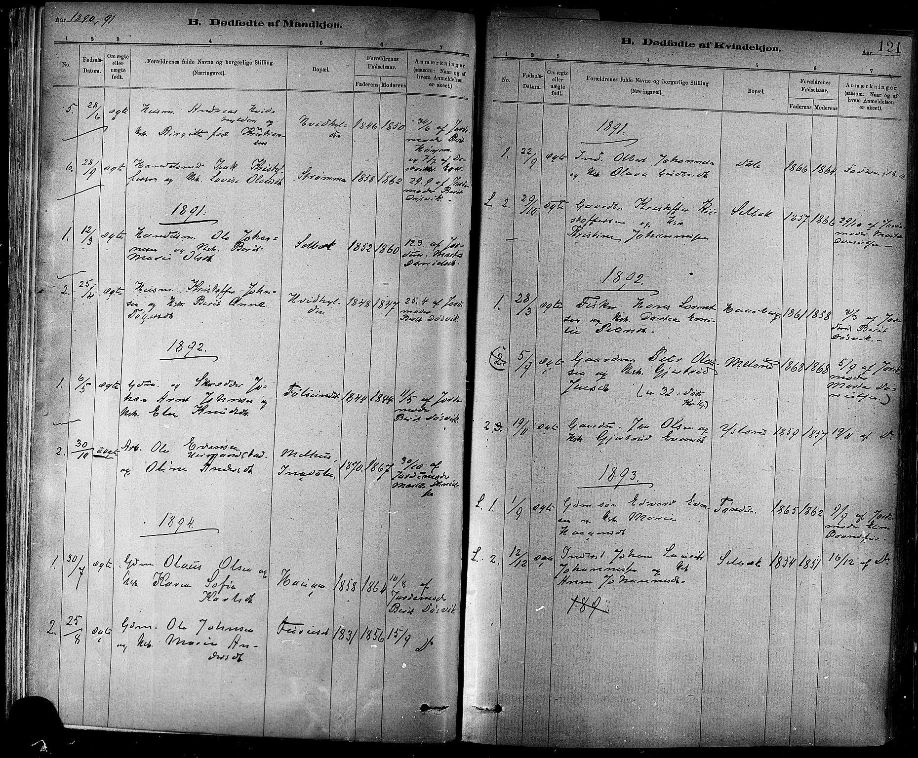 SAT, Ministerialprotokoller, klokkerbøker og fødselsregistre - Sør-Trøndelag, 647/L0634: Ministerialbok nr. 647A01, 1885-1896, s. 121